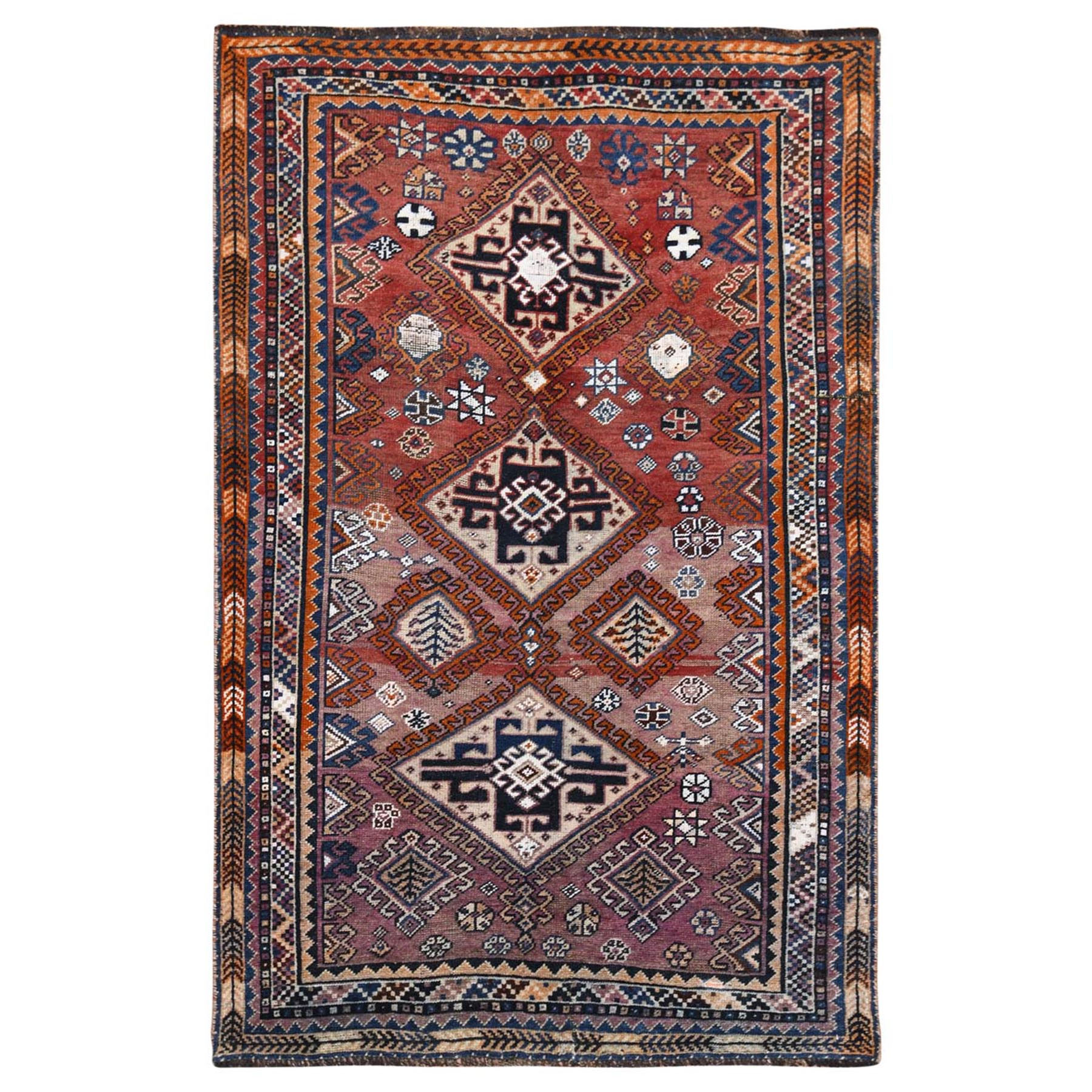 Fetneh Collection And Vintage Overdyed Collection Hand Knotted Purple Rug No: 1115780
