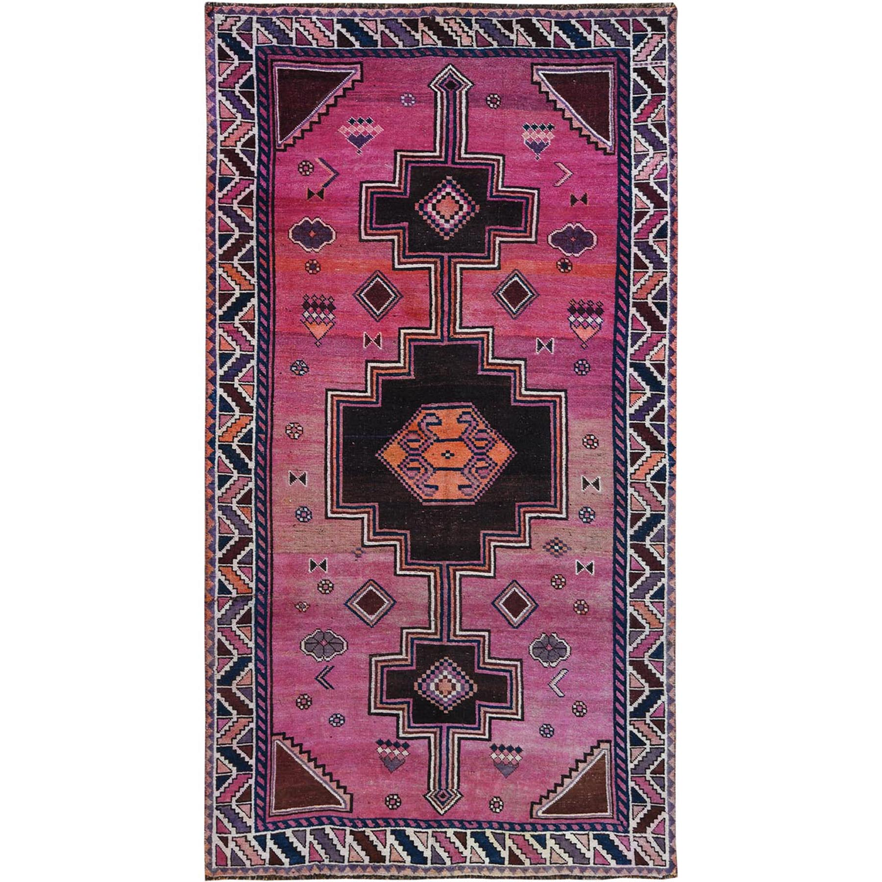 Fetneh Collection And Vintage Overdyed Collection Hand Knotted Pink Rug No: 1115646