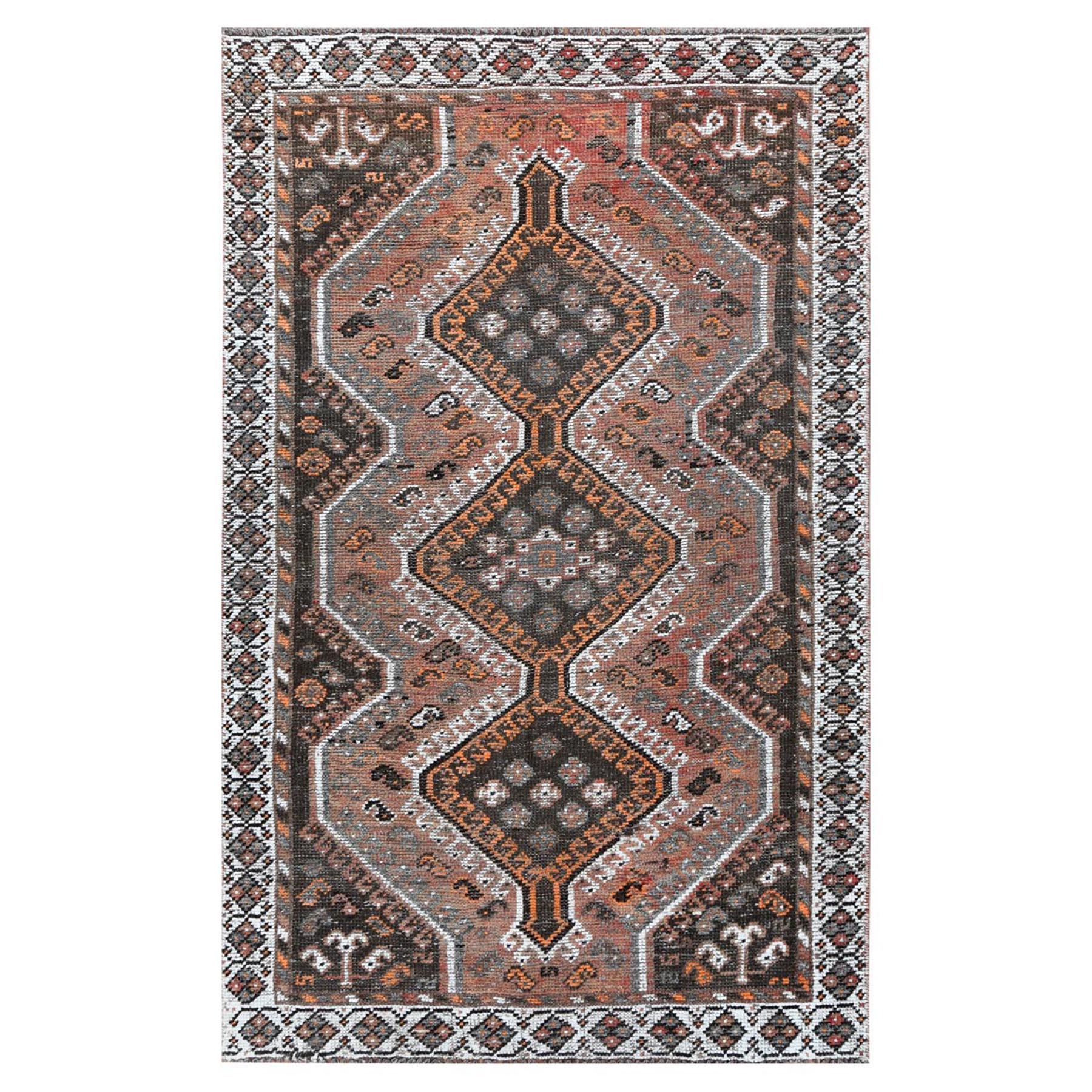Fetneh Collection And Vintage Overdyed Collection Hand Knotted Orange Rug No: 1115820