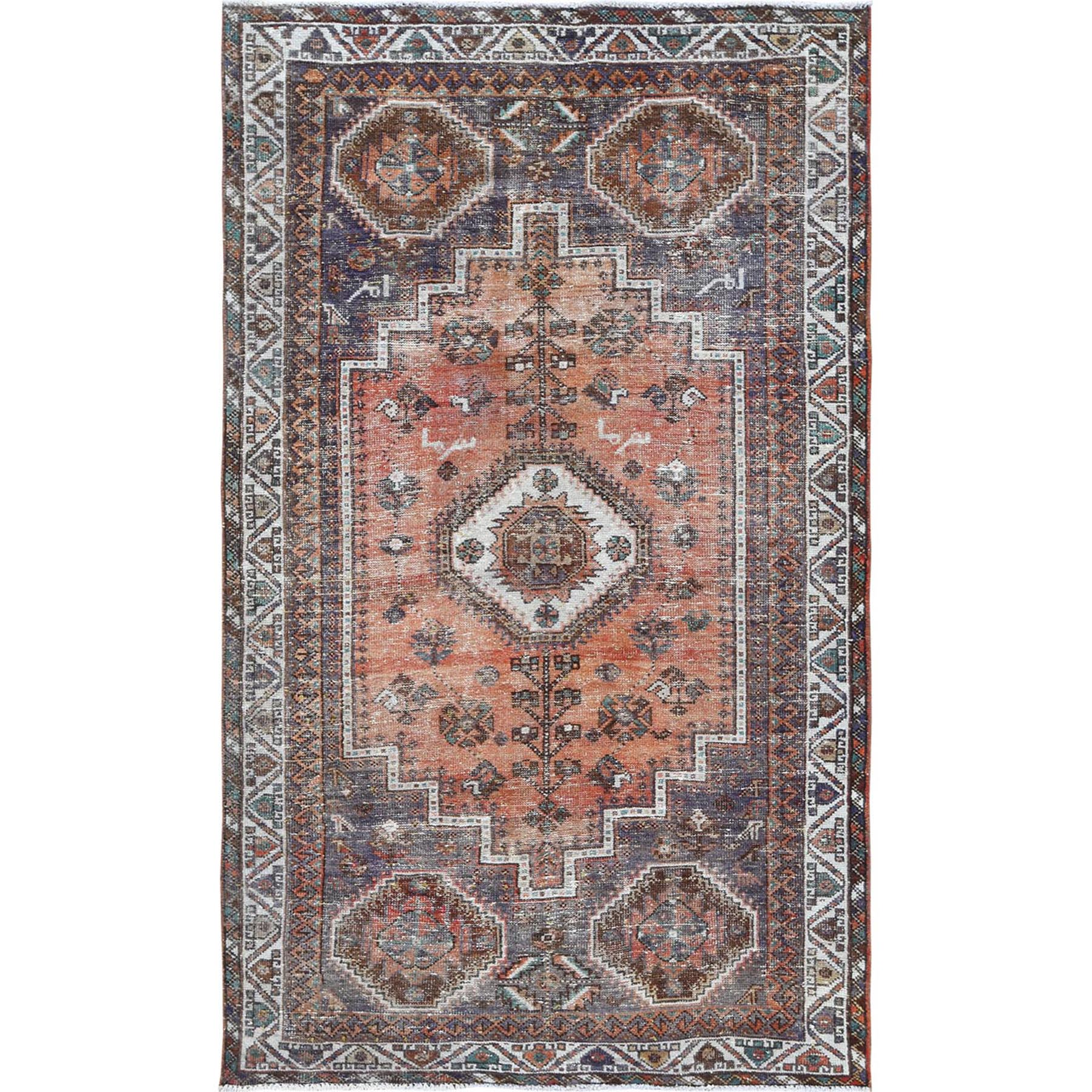 Fetneh Collection And Vintage Overdyed Collection Hand Knotted Orange Rug No: 1115652