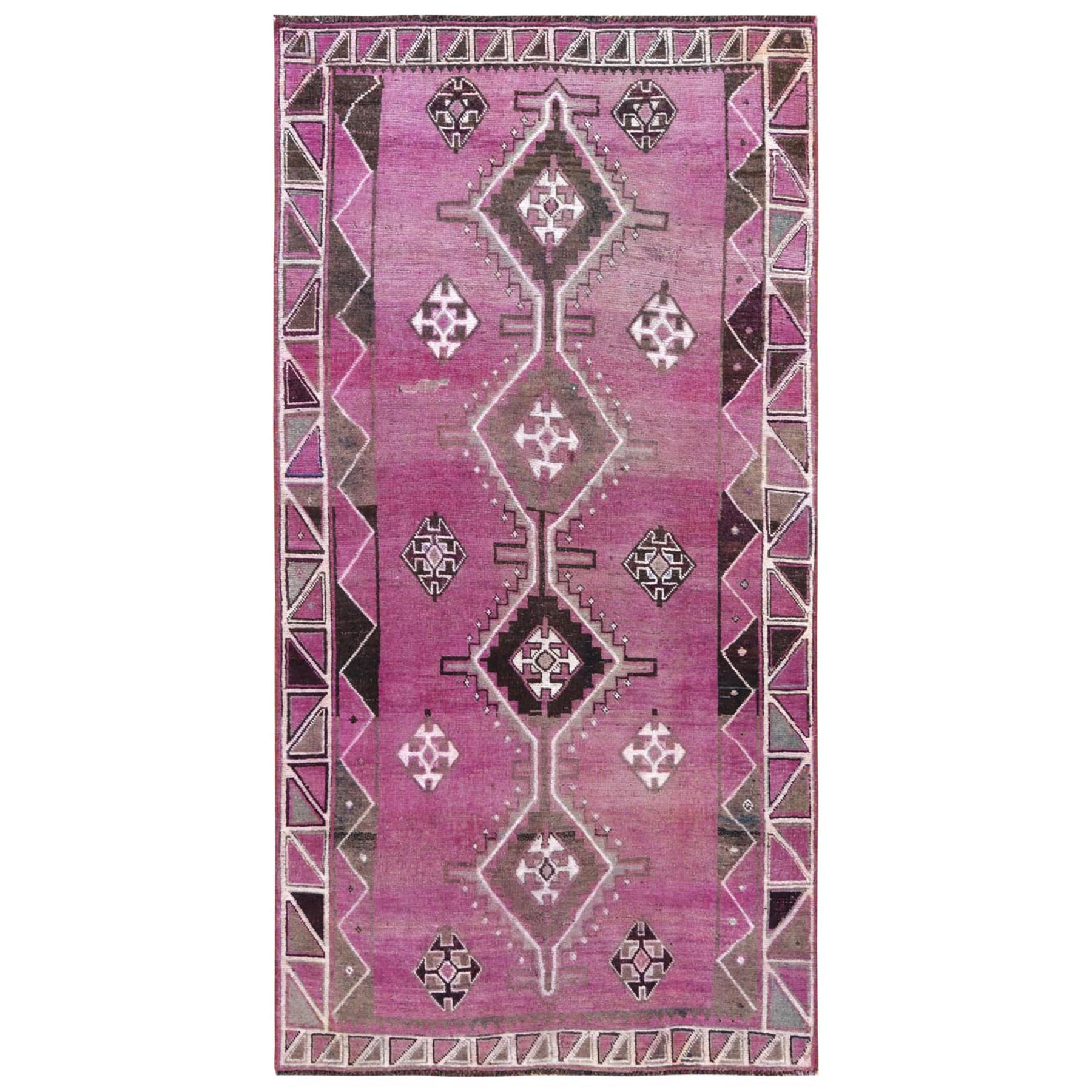 Fetneh Collection And Vintage Overdyed Collection Hand Knotted Pink Rug No: 1115828