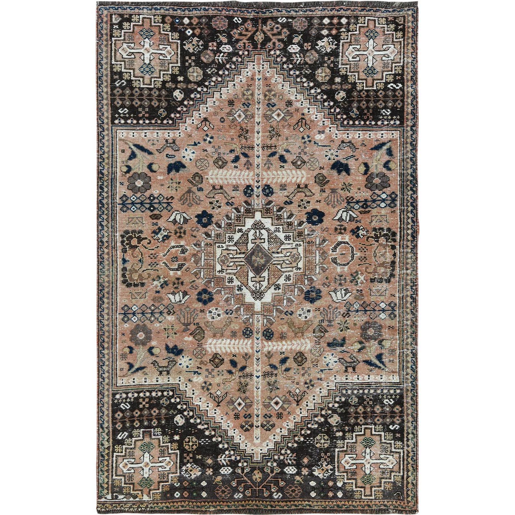 Fetneh Collection And Vintage Overdyed Collection Hand Knotted Brown Rug No: 1115656