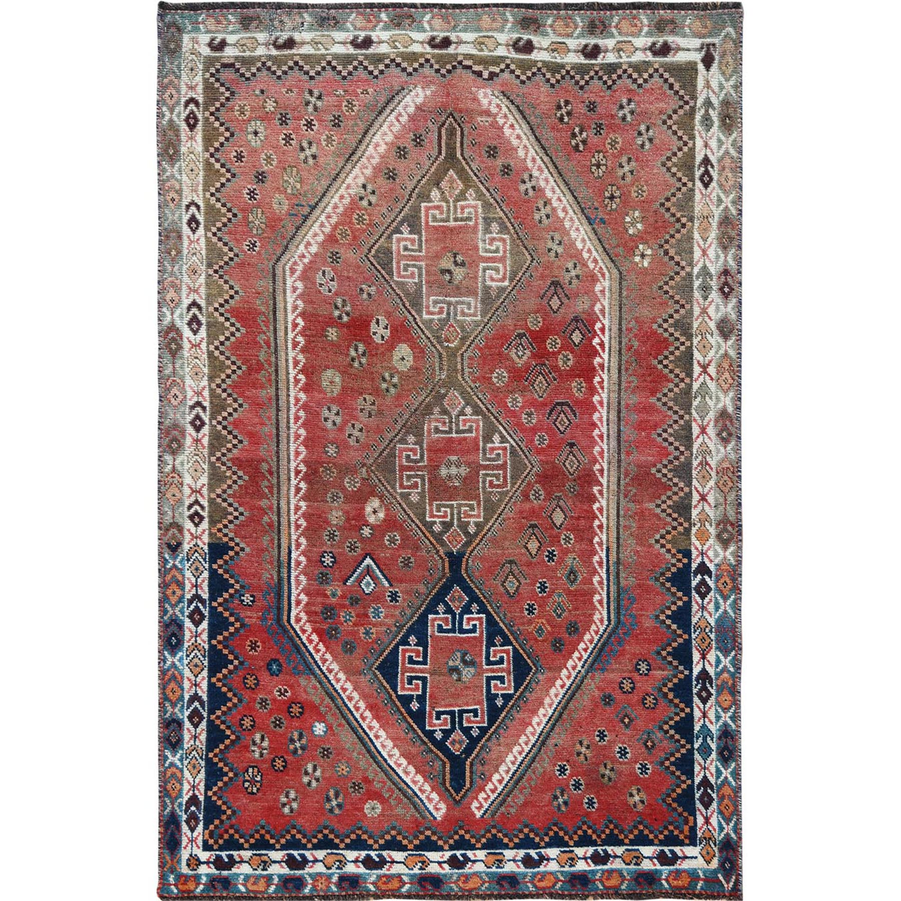 Fetneh Collection And Vintage Overdyed Collection Hand Knotted Red Rug No: 1115658