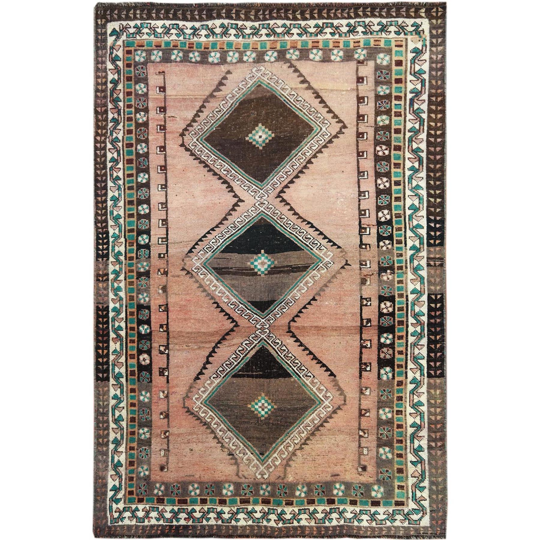 Fetneh Collection And Vintage Overdyed Collection Hand Knotted Brown Rug No: 1115660