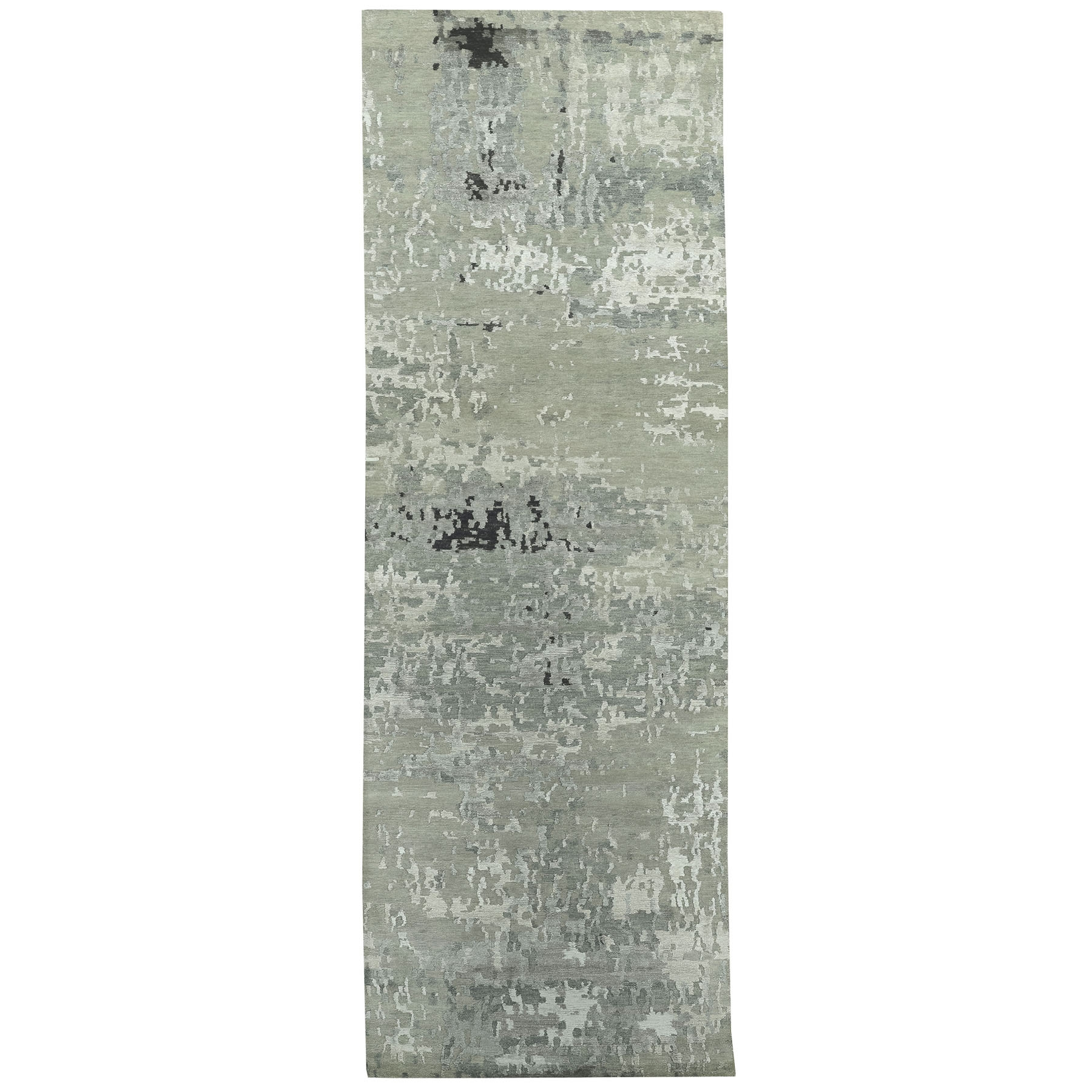 Mid Century Modern Collection Hand Knotted Grey Rug No: 1117780