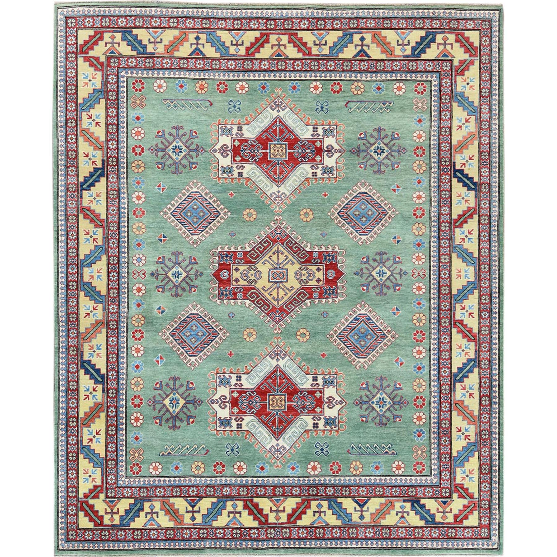 Caucasian Collection Hand Knotted Green Rug No: 1120262