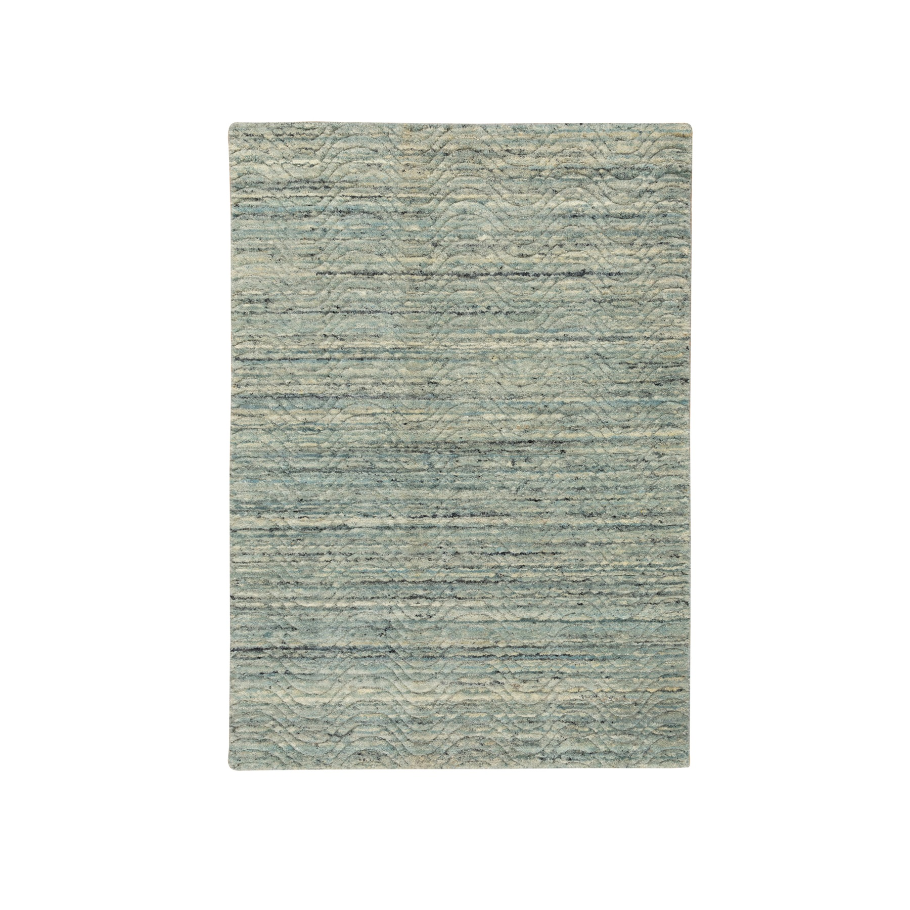 Mid Century Modern Collection Hand Loomed Green Rug No: 1117236