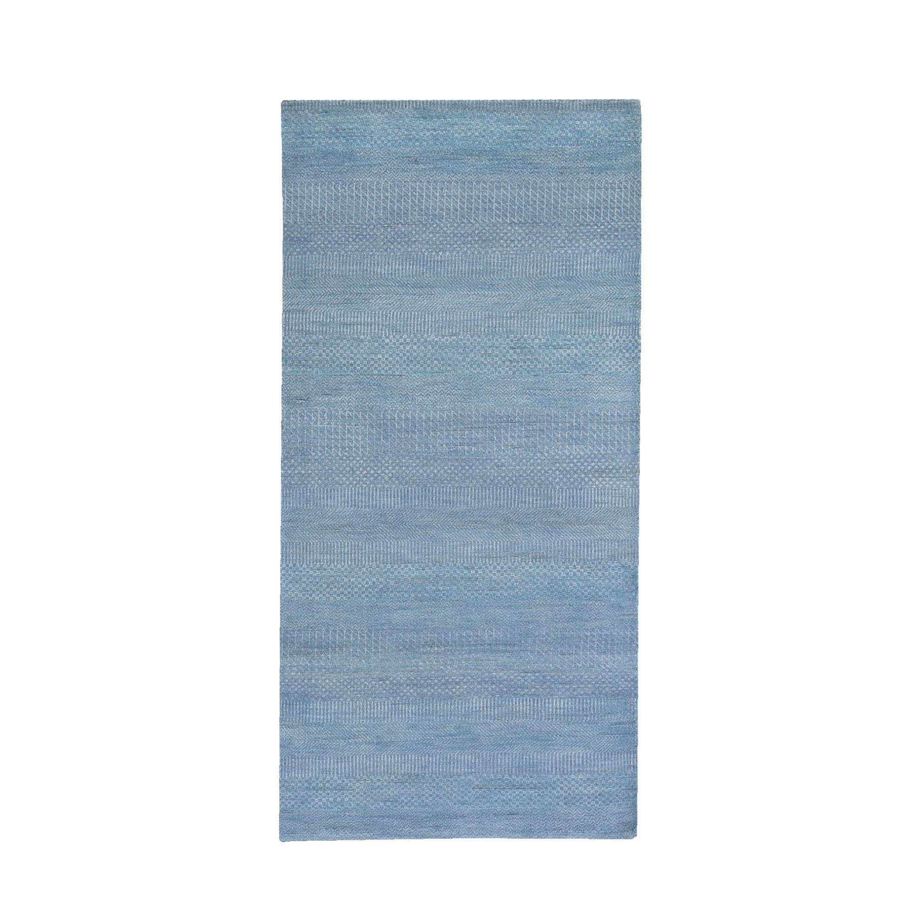 Mid Century Modern Collection Hand Knotted Blue Rug No: 1119244