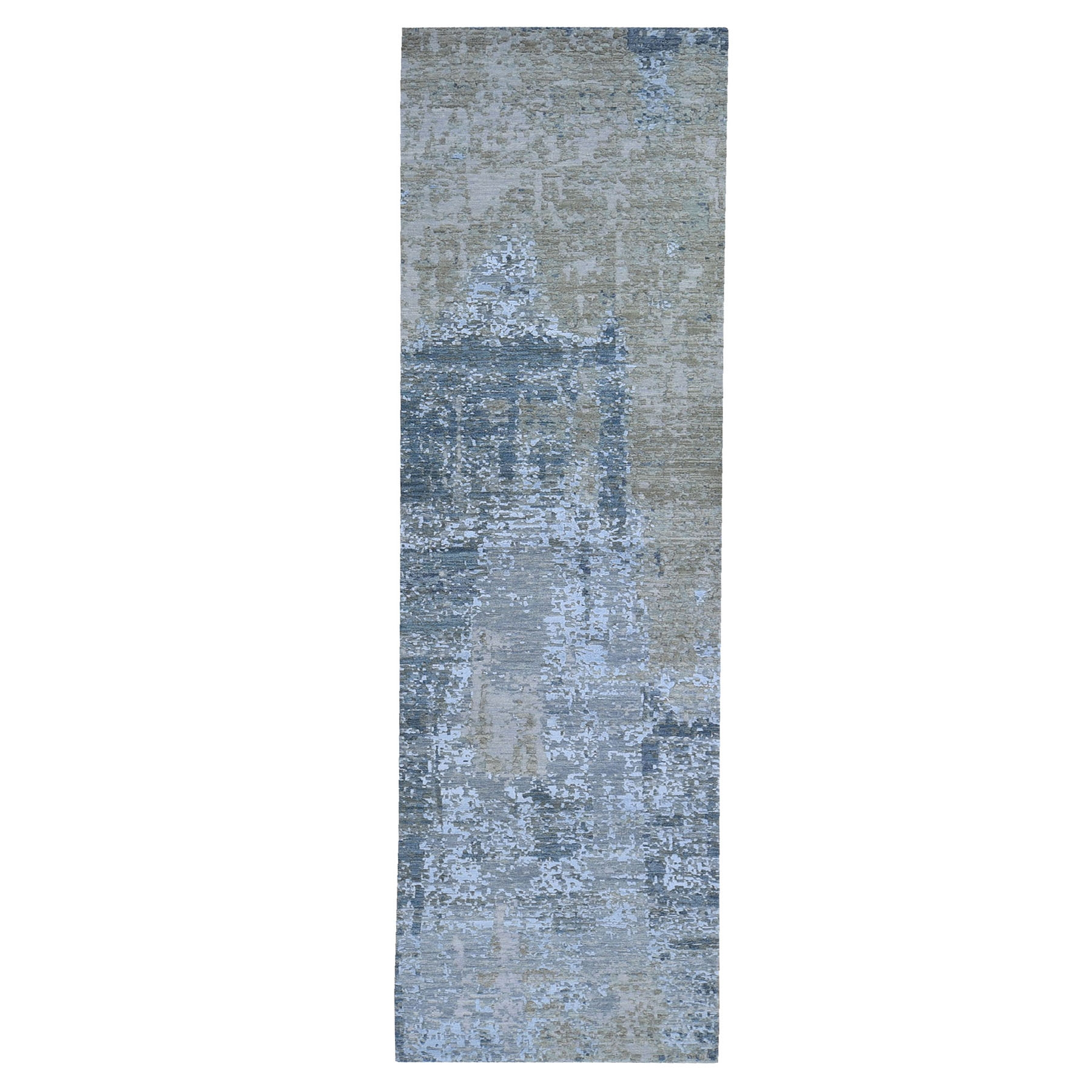 Mid Century Modern Collection Hand Knotted Blue Rug No: 1119246