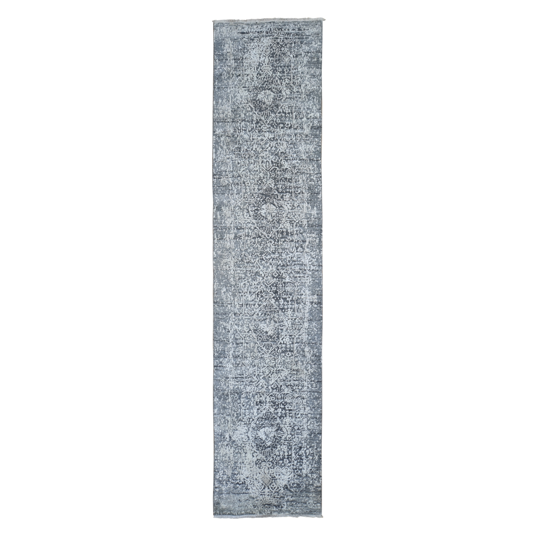 Mid Century Modern Collection Hand Knotted Grey Rug No: 1119412