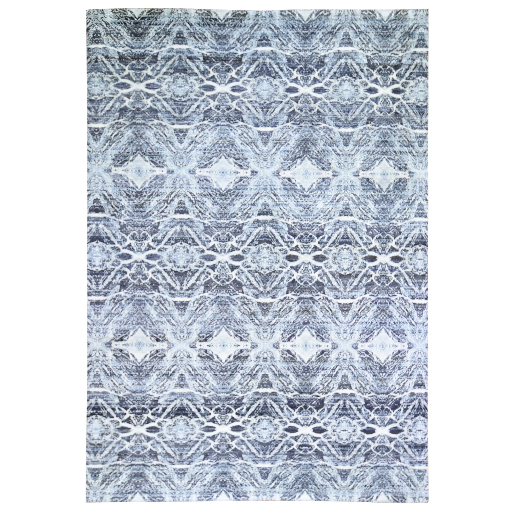 Mid Century Modern Collection Hand Knotted Black Rug No: 1119444