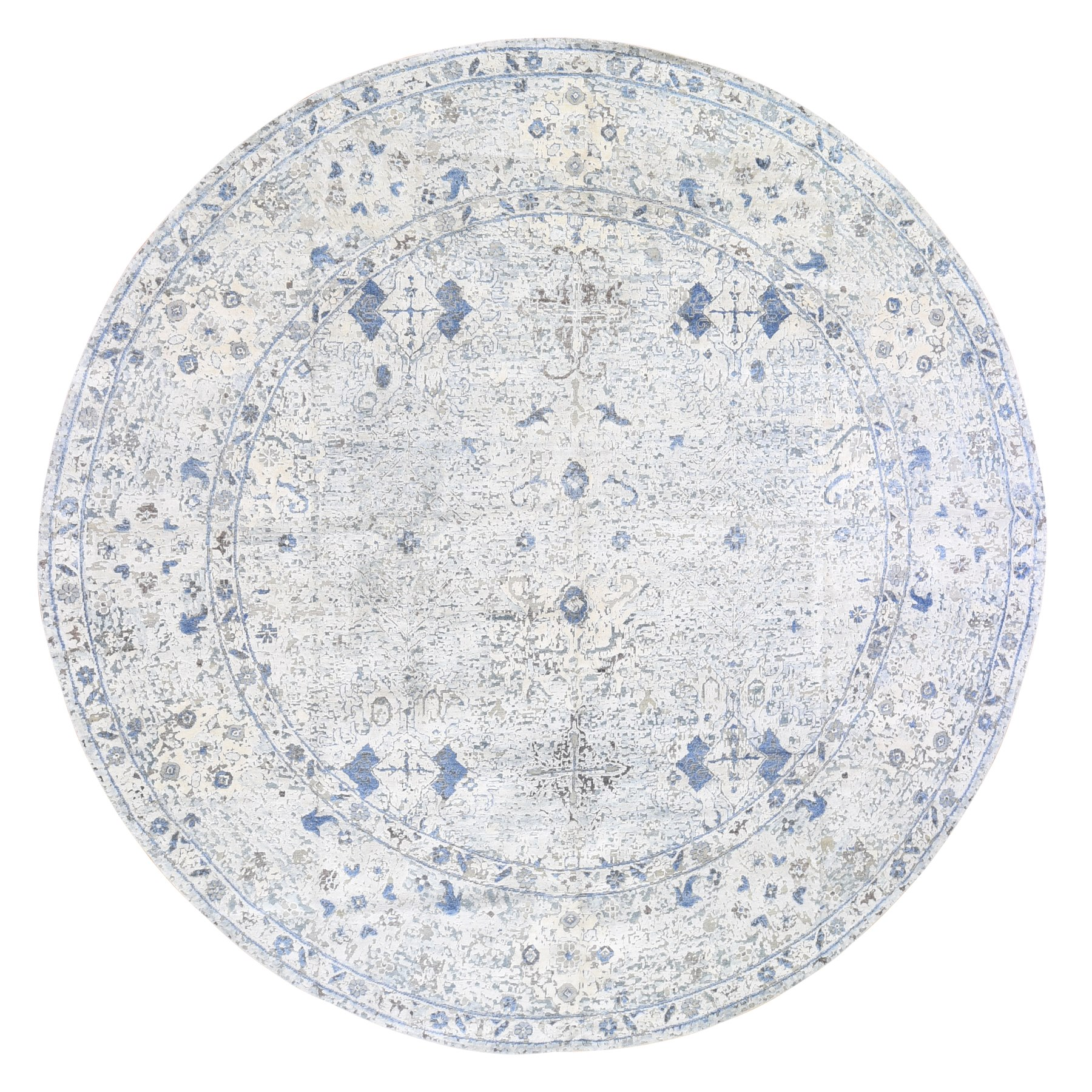 Transitional Hand Knotted Blue Rug No: 1119454