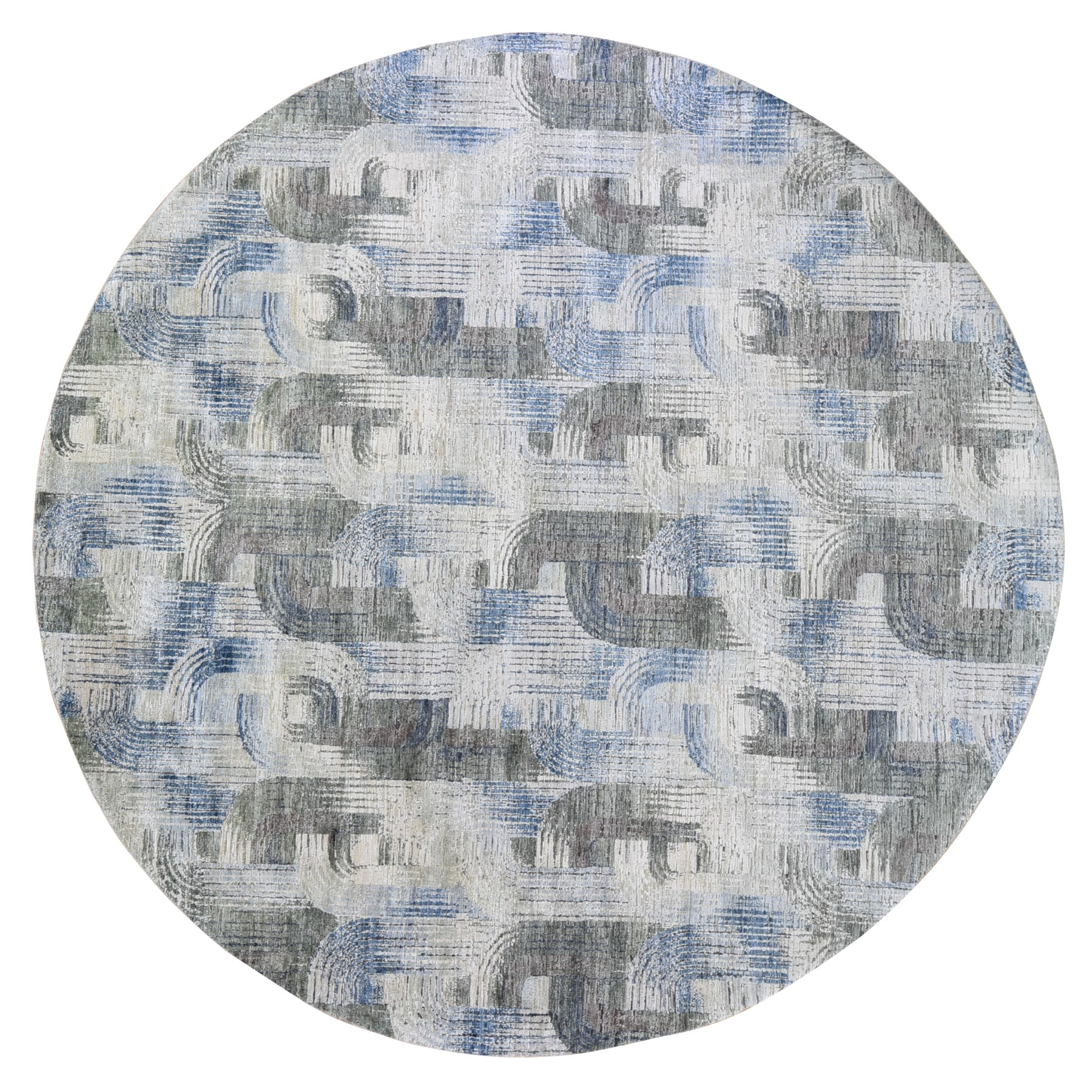 Mid Century Modern Collection Hand Knotted Blue Rug No: 1119468