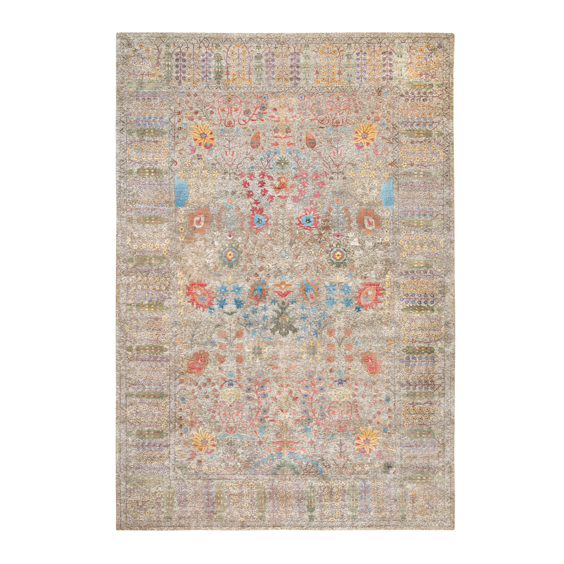 Wool and Real Silk Collection Hand Knotted Brown Rug No: 1117934
