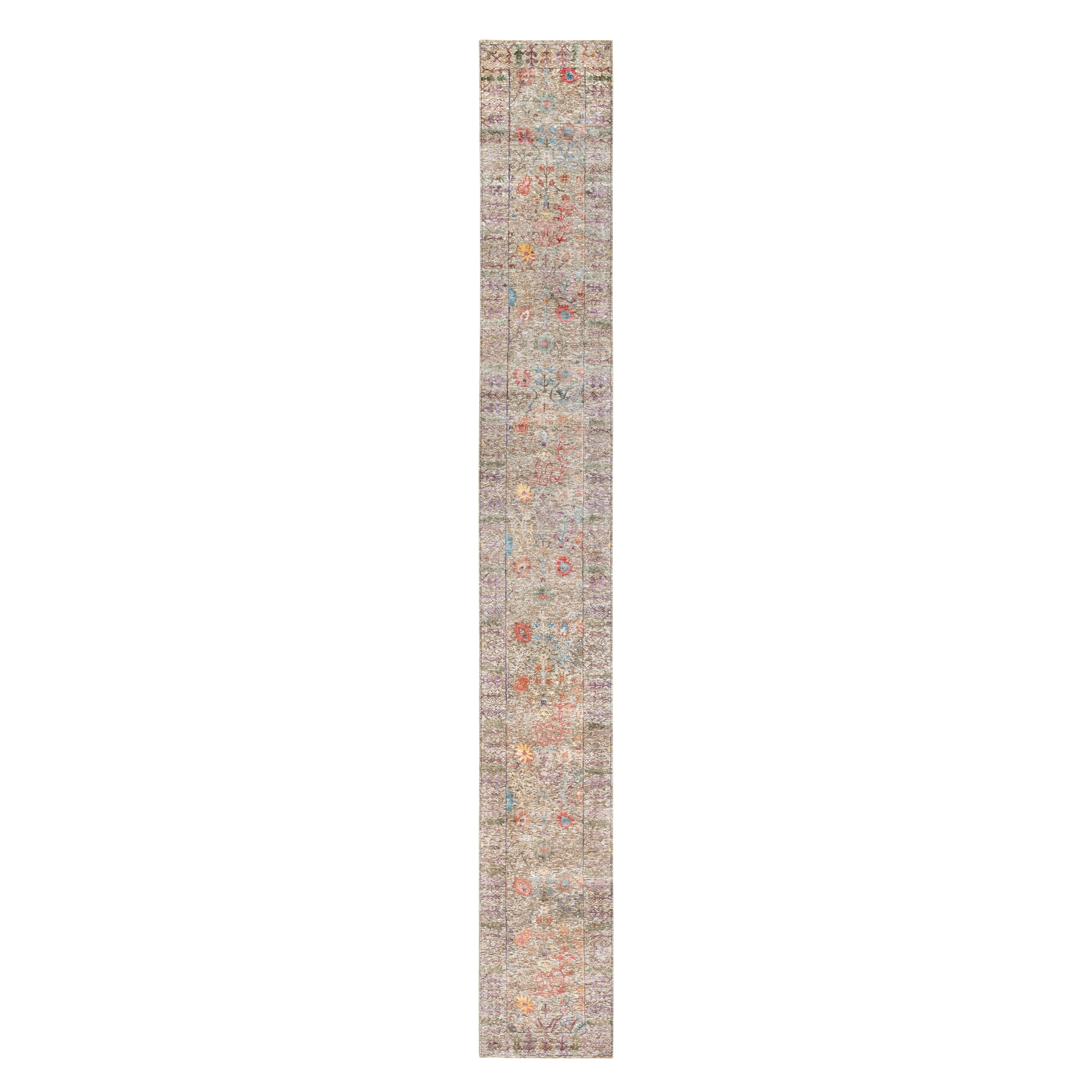 Wool and Real Silk Collection Hand Knotted Brown Rug No: 1117924
