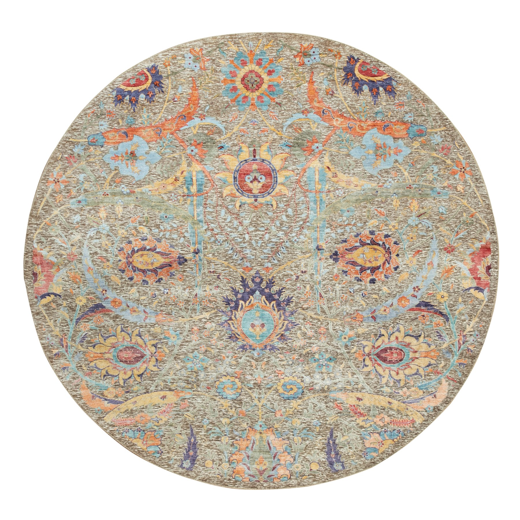 Wool and Real Silk Collection Hand Knotted Brown Rug No: 1117886