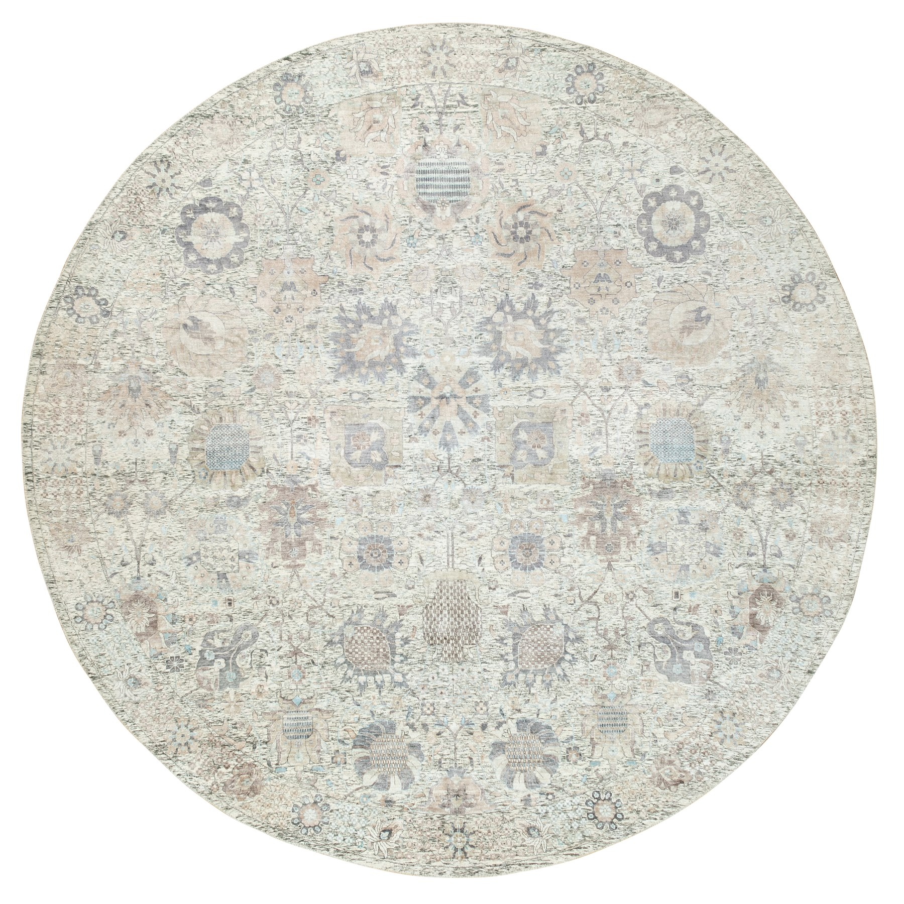 Transitional Hand Knotted Ivory Rug No: 1117958