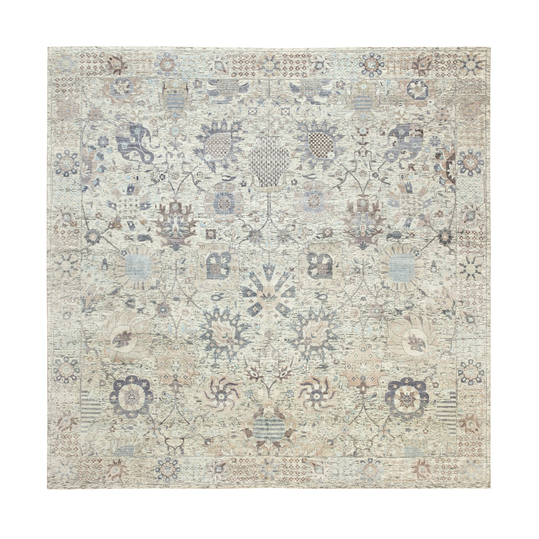 Transitional Hand Knotted Ivory Rug No: 1117888