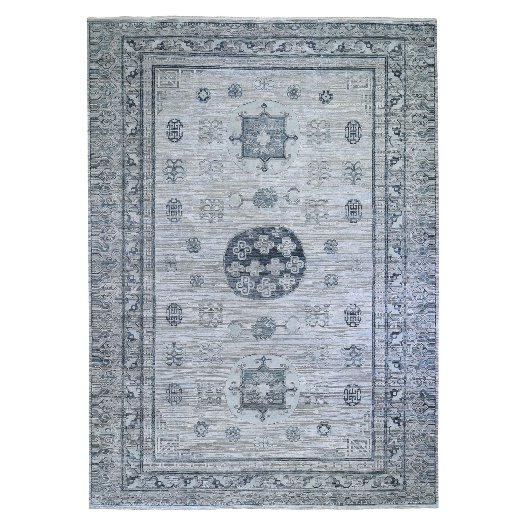Wool and Real Silk Collection Hand Knotted Grey Rug No: 1119888
