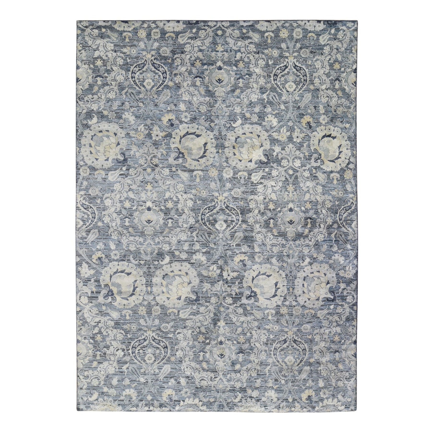 Wool and Real Silk Collection Hand Knotted Grey Rug No: 1119890