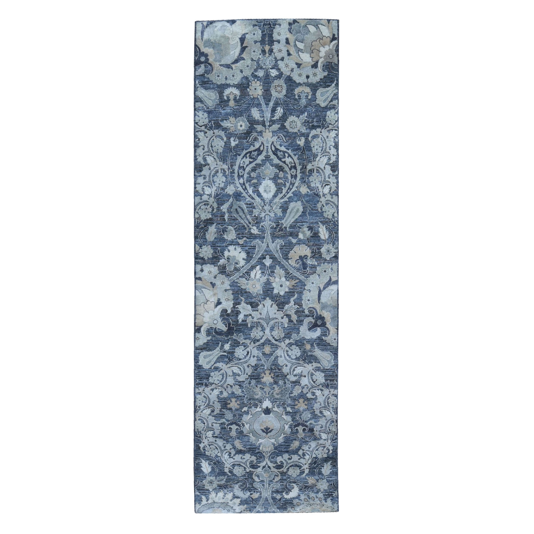 Wool and Real Silk Collection Hand Knotted Grey Rug No: 1119904