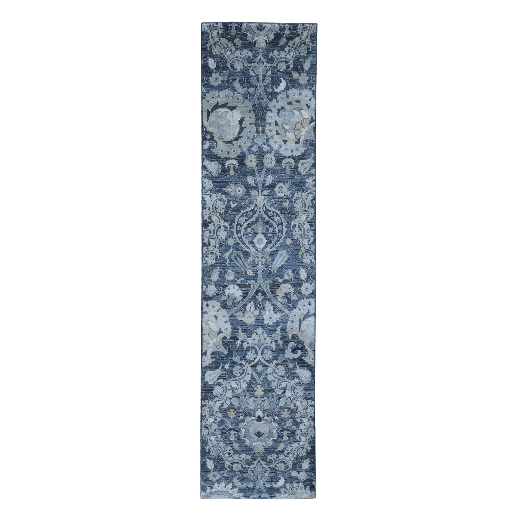 Wool and Real Silk Collection Hand Knotted Grey Rug No: 1119906