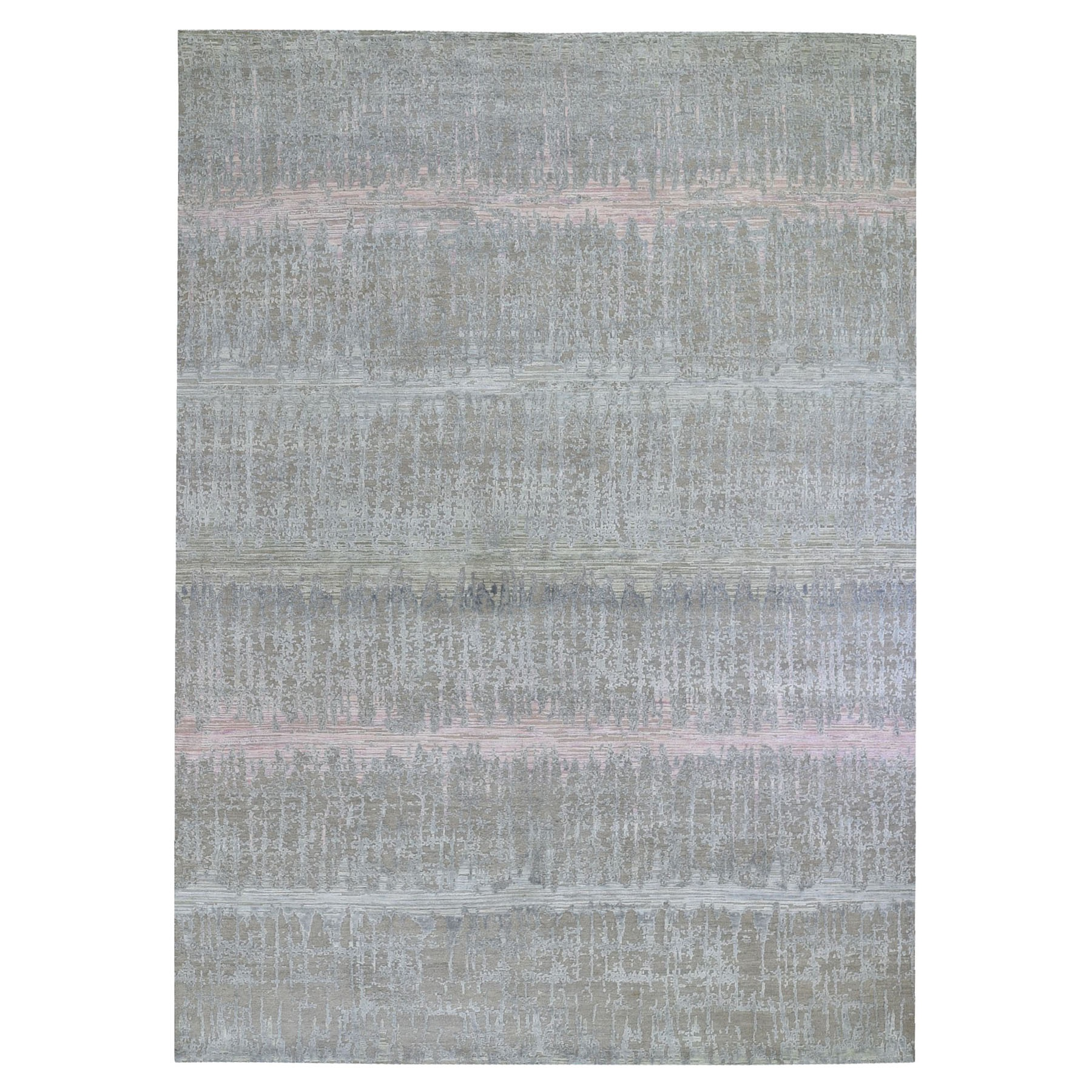 Mid Century Modern Collection Hand Knotted Pink Rug No: 1119896