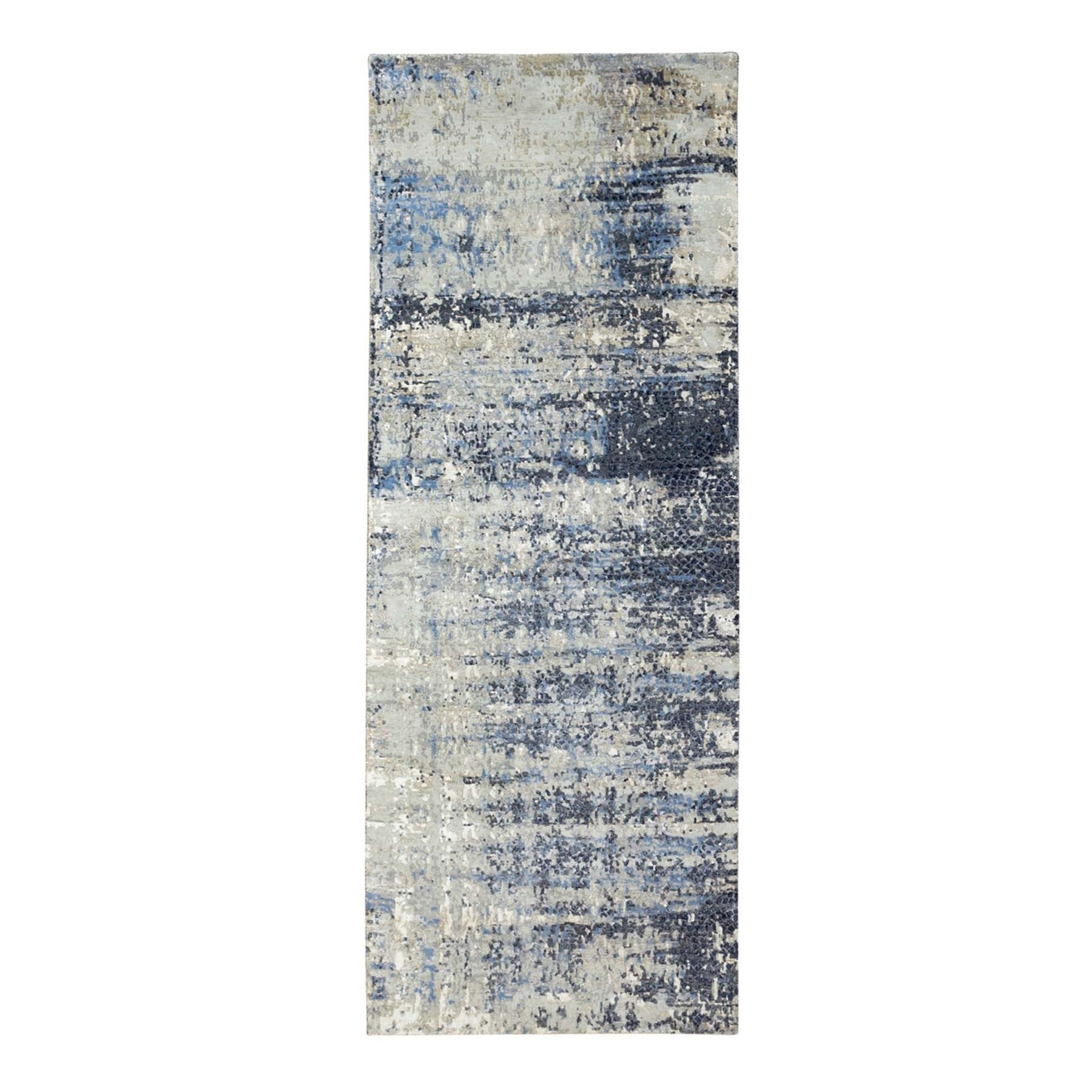 Mid Century Modern Collection Hand Knotted Grey Rug No: 1124074