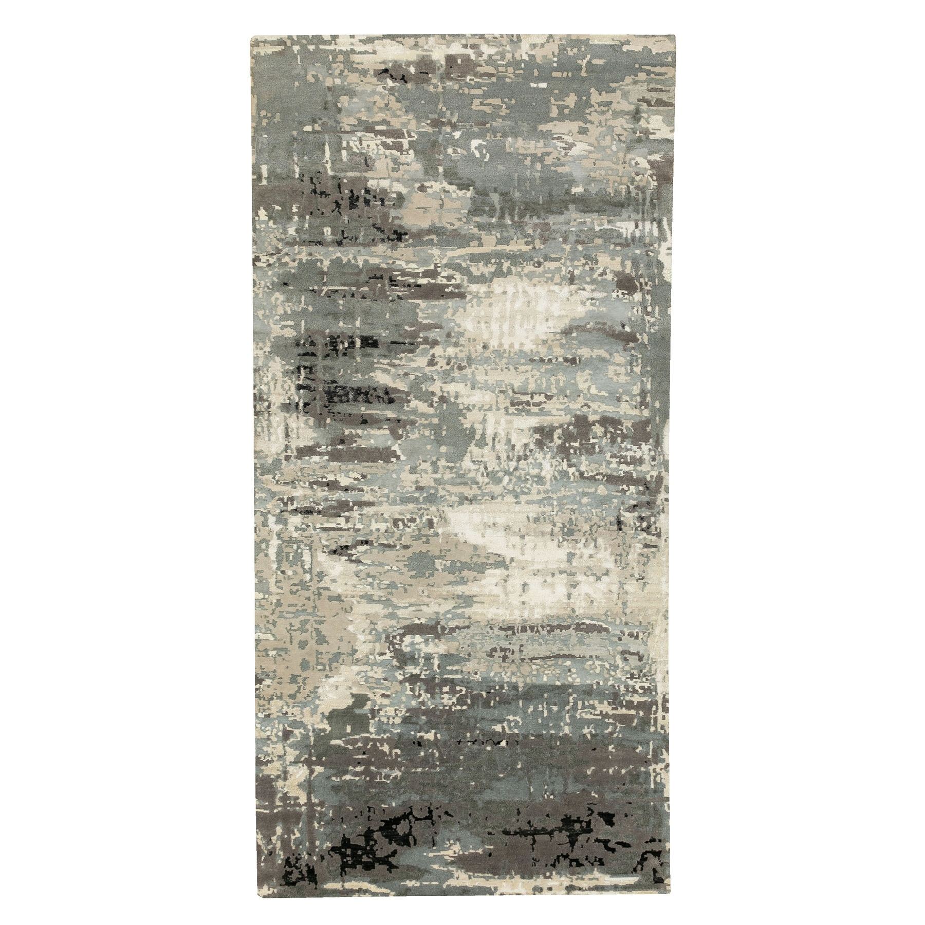 Mid Century Modern Collection Hand Knotted Grey Rug No: 1124068