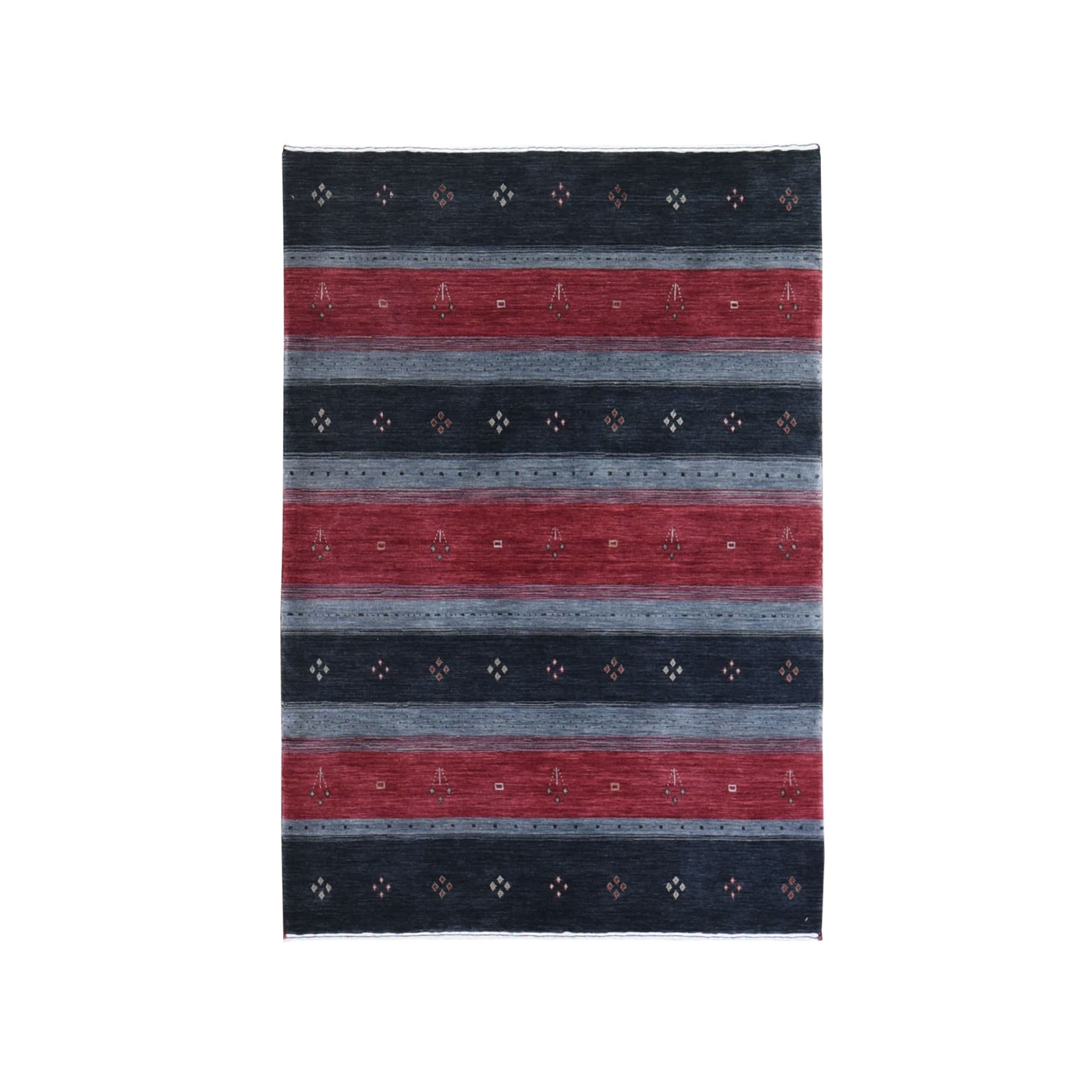 Mid Century Modern Collection Hand Loomed Black Rug No: 1132478