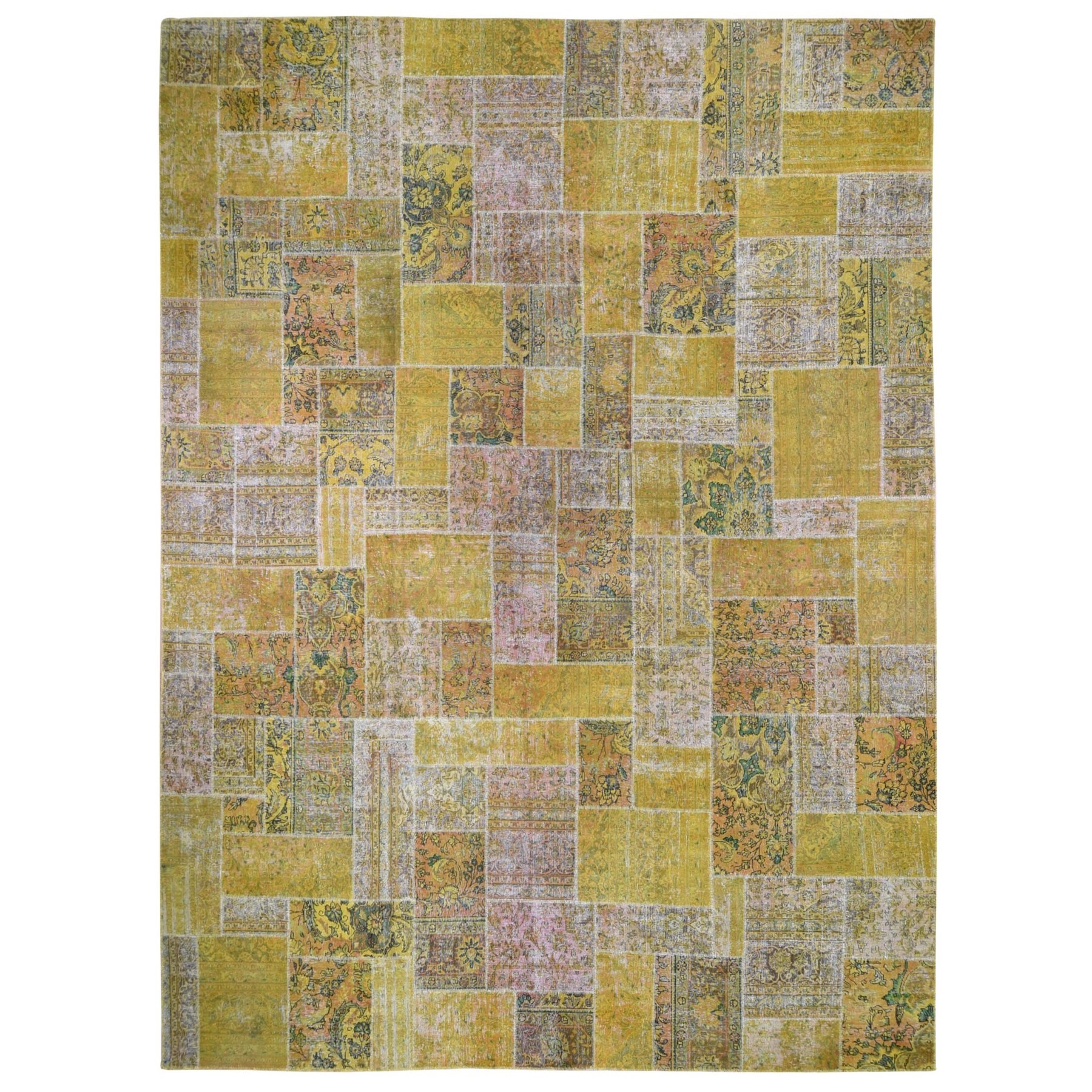 Fetneh Collection And Vintage Overdyed Collection Hand Knotted Yellow Rug No: 1132582