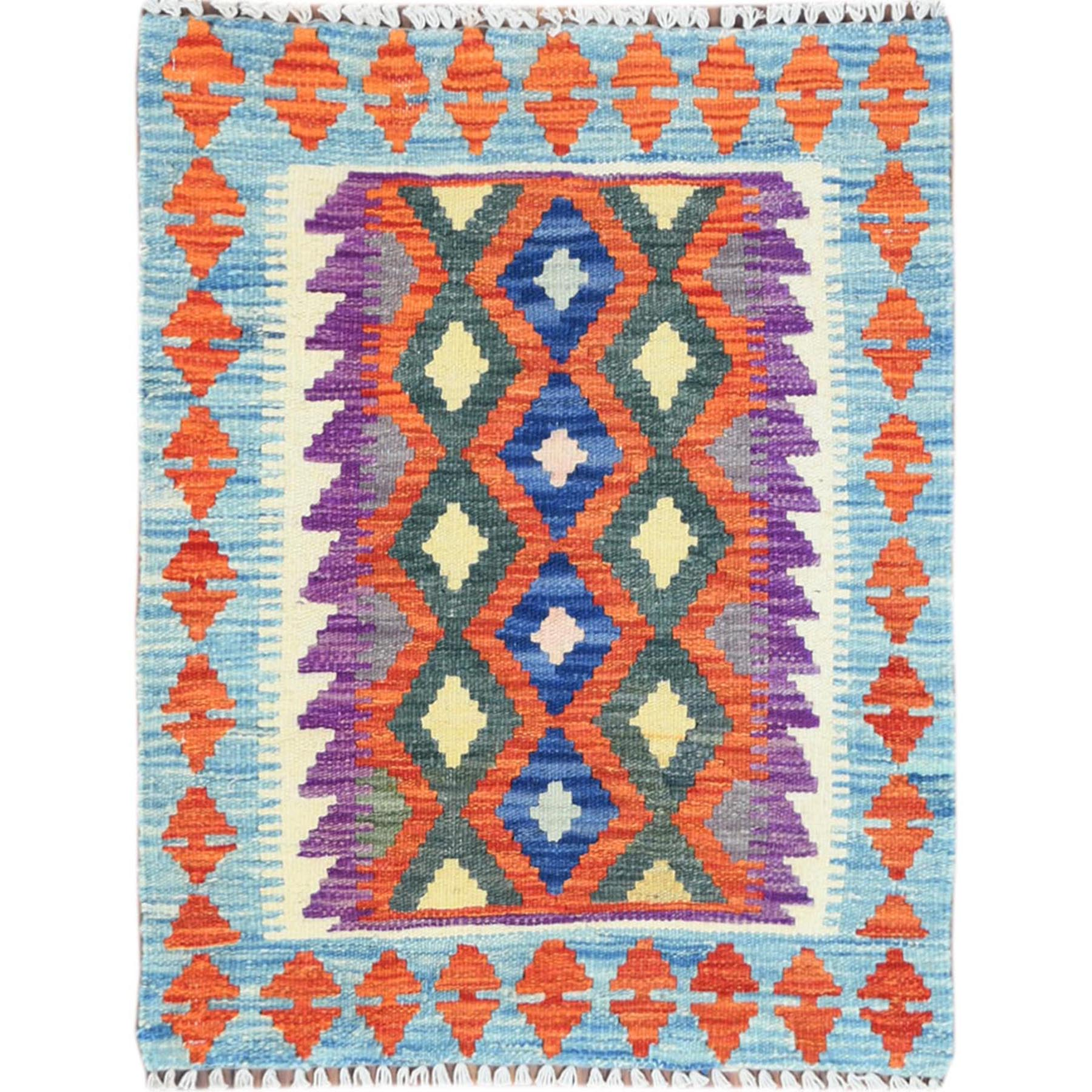 Fine Kilim Collection Hand Knotted Teal Rug No: 1121330