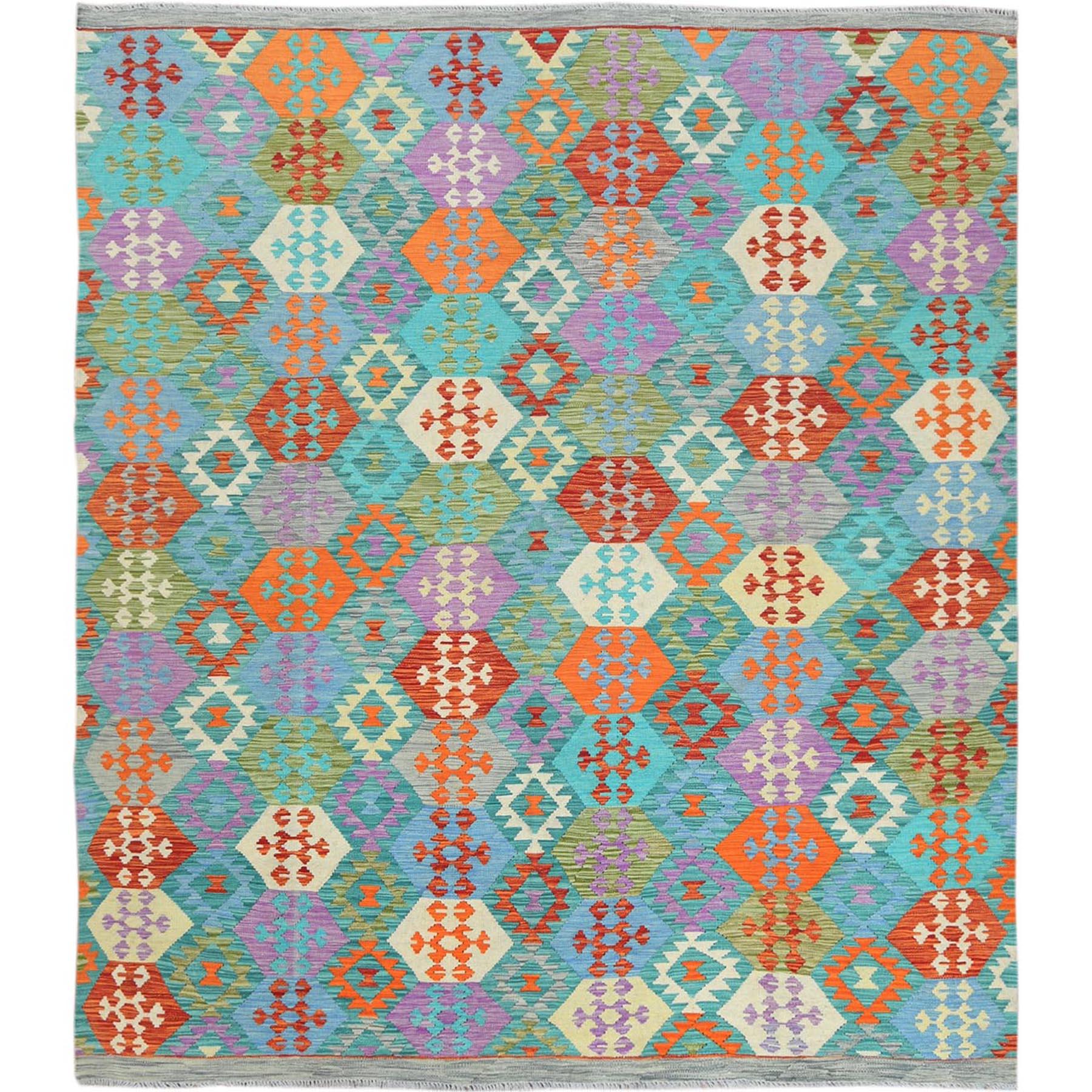 Fine Kilim Collection Hand Woven Teal Rug No: 1121362