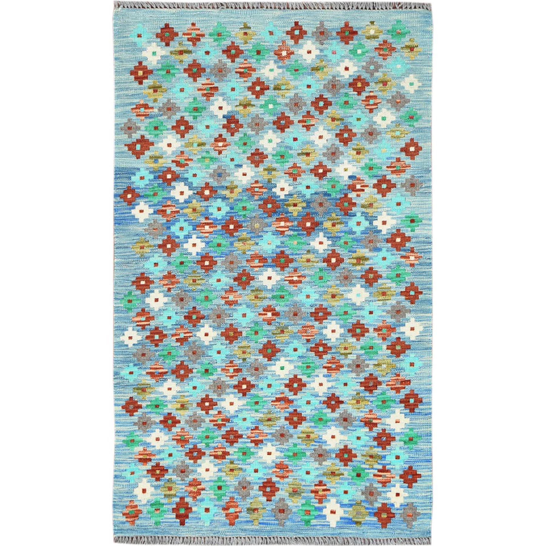 Fine Kilim Collection Hand Woven Teal Rug No: 1121358