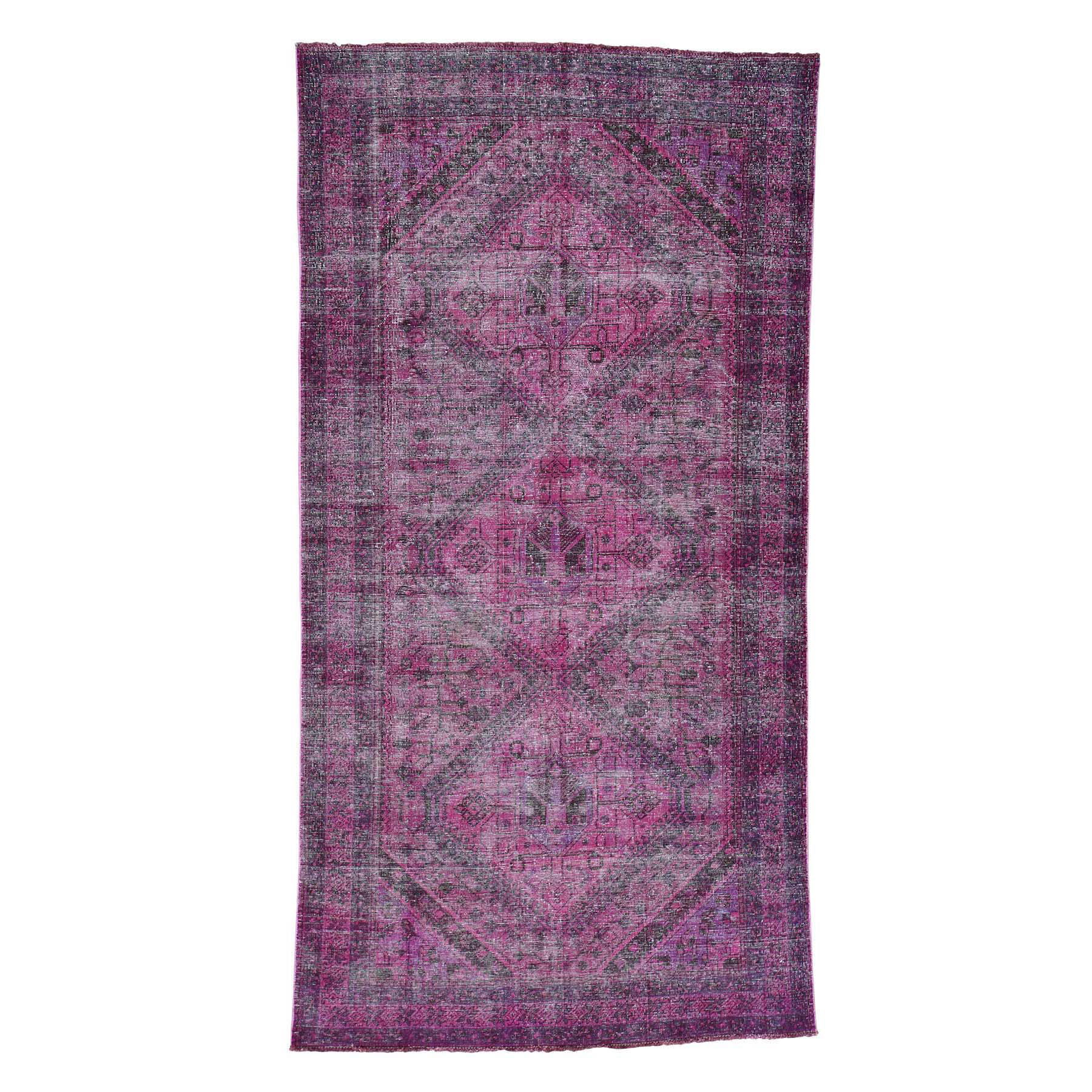 Fetneh Collection And Vintage Overdyed Collection Hand Knotted Pink Rug No: 0169636