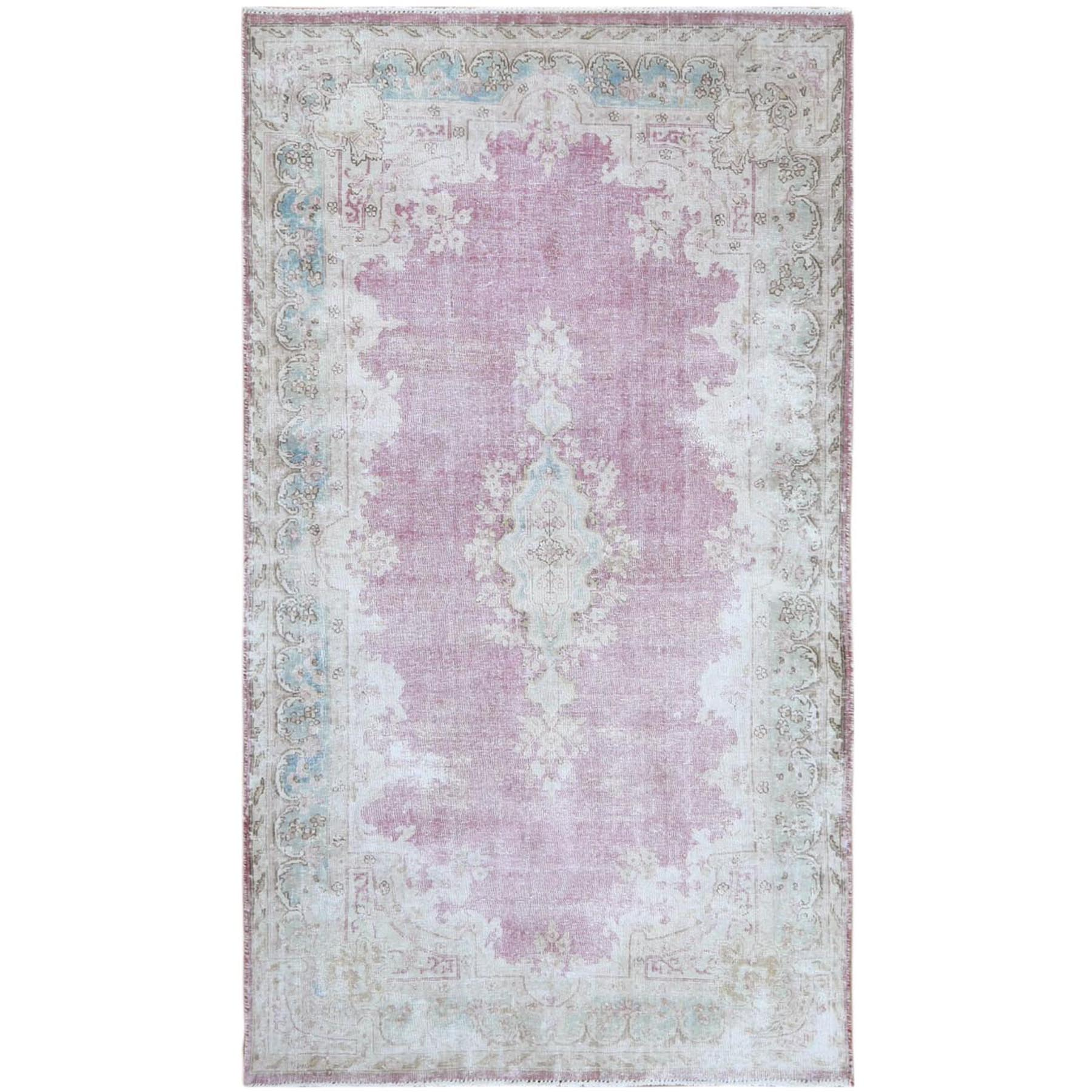 Fetneh Collection And Vintage Overdyed Collection Hand Knotted Pink Rug No: 1120910