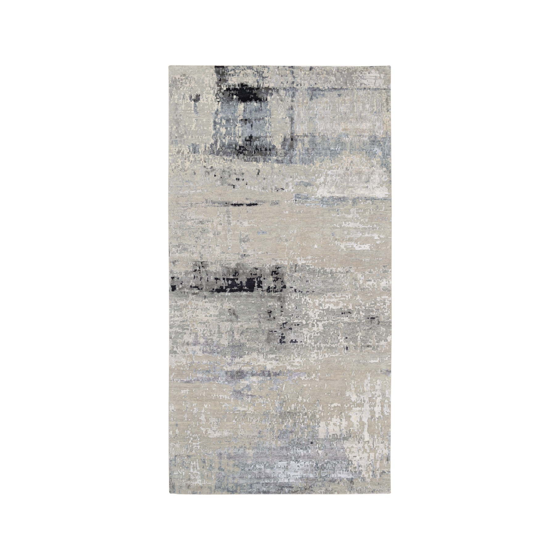 Mid Century Modern Collection Hand Knotted Grey Rug No: 1124360