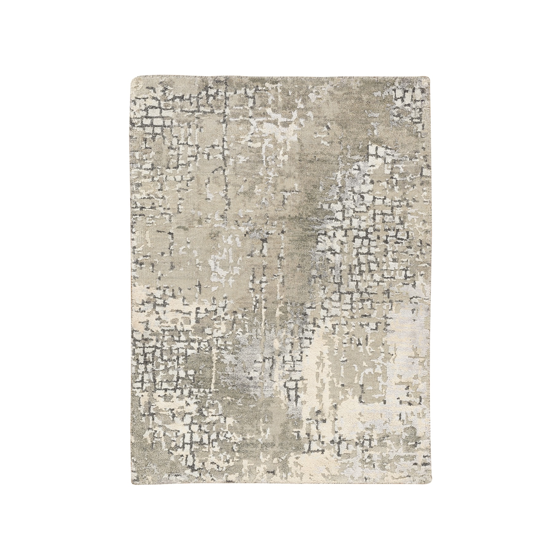 Mid Century Modern Collection Hand Knotted Grey Rug No: 1124346