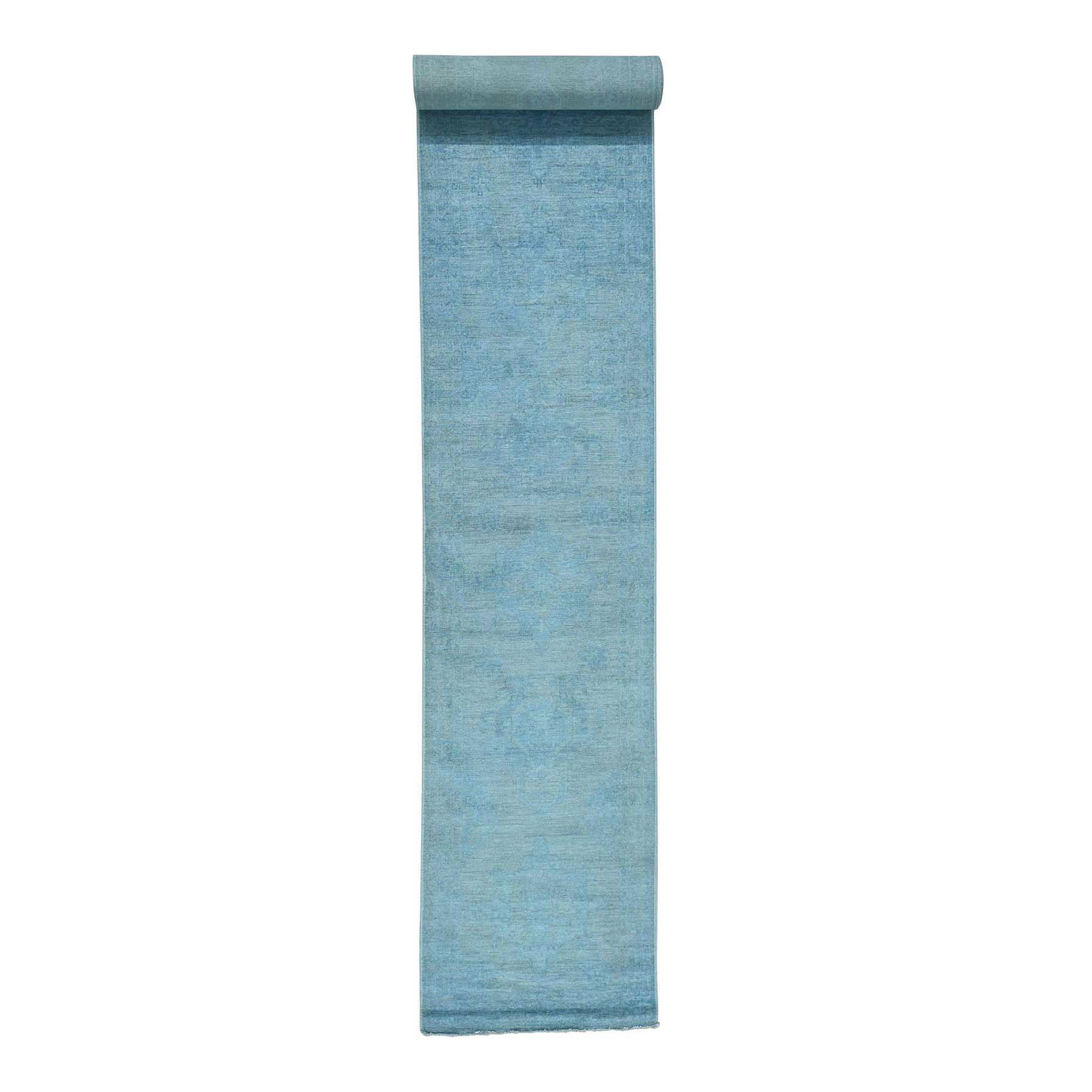 Fetneh Collection And Vintage Overdyed Collection Hand Knotted Blue Rug No: 170732