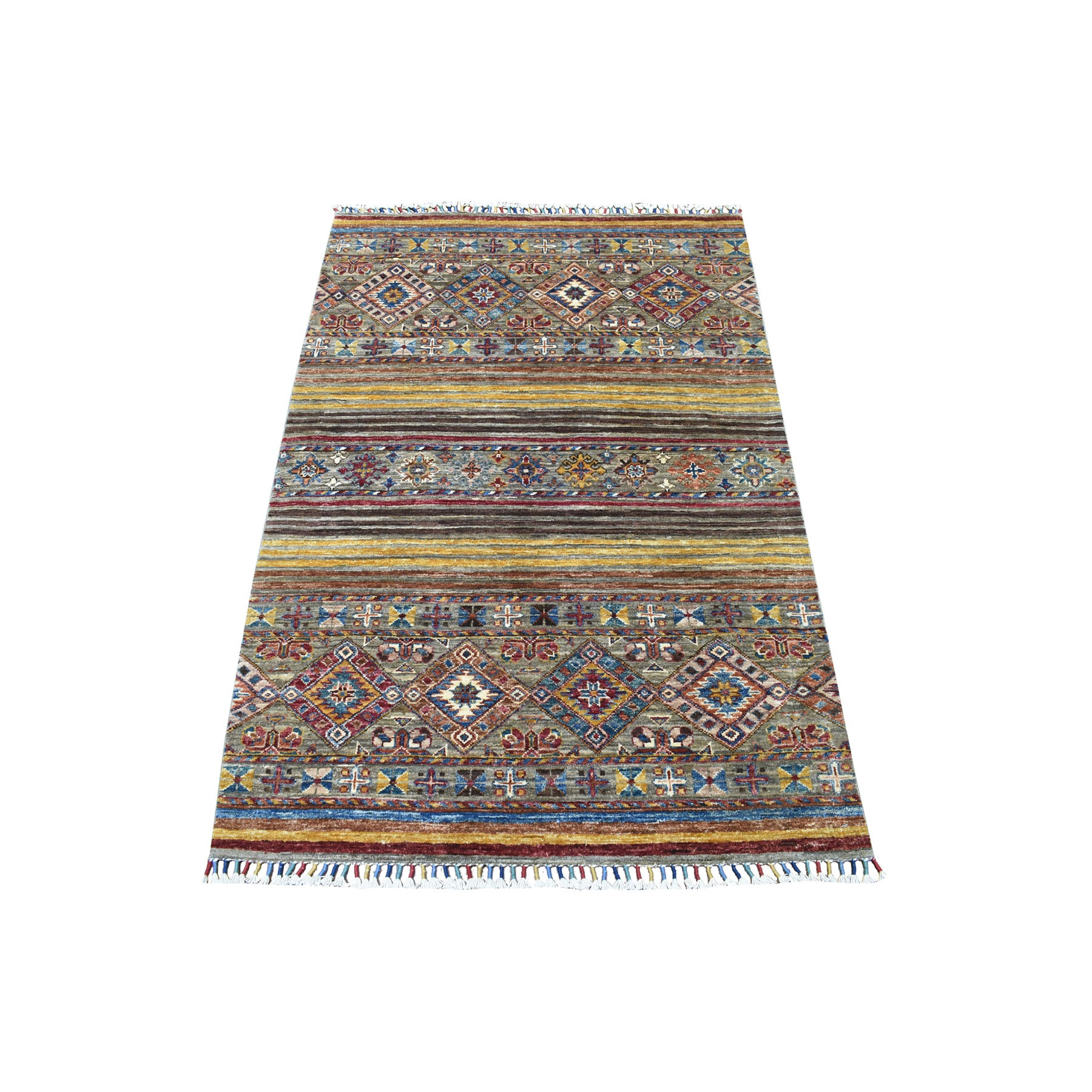 Caucasian Collection Hand Knotted Yellow Rug No: 1113076
