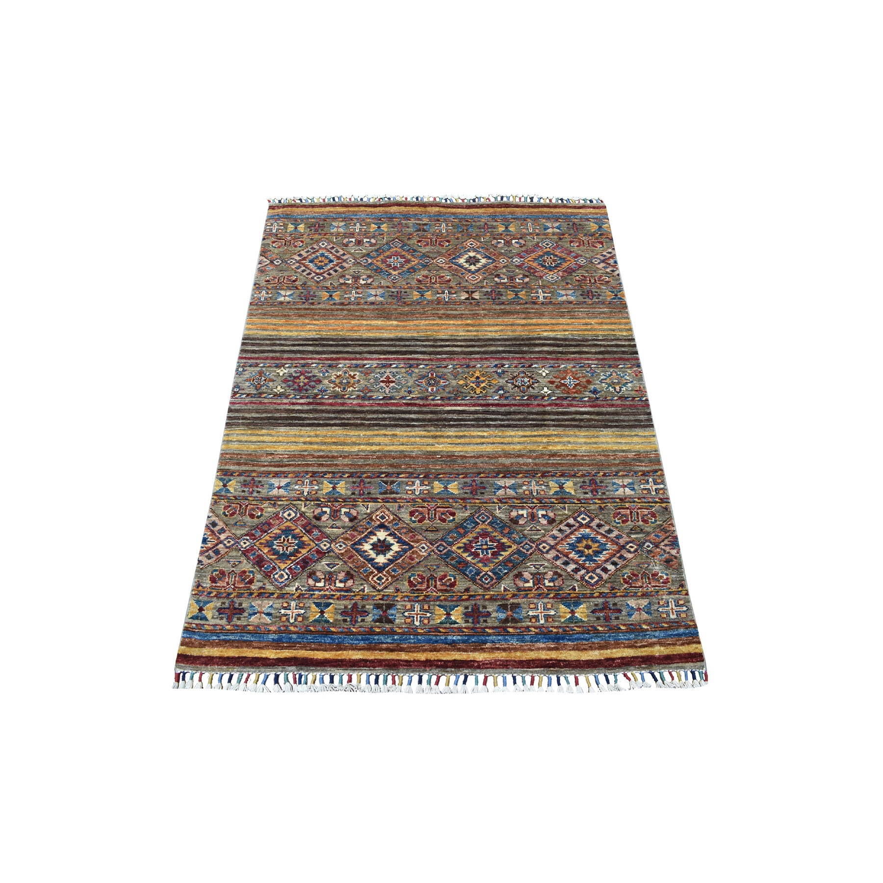 Caucasian Collection Hand Knotted Yellow Rug No: 1113094