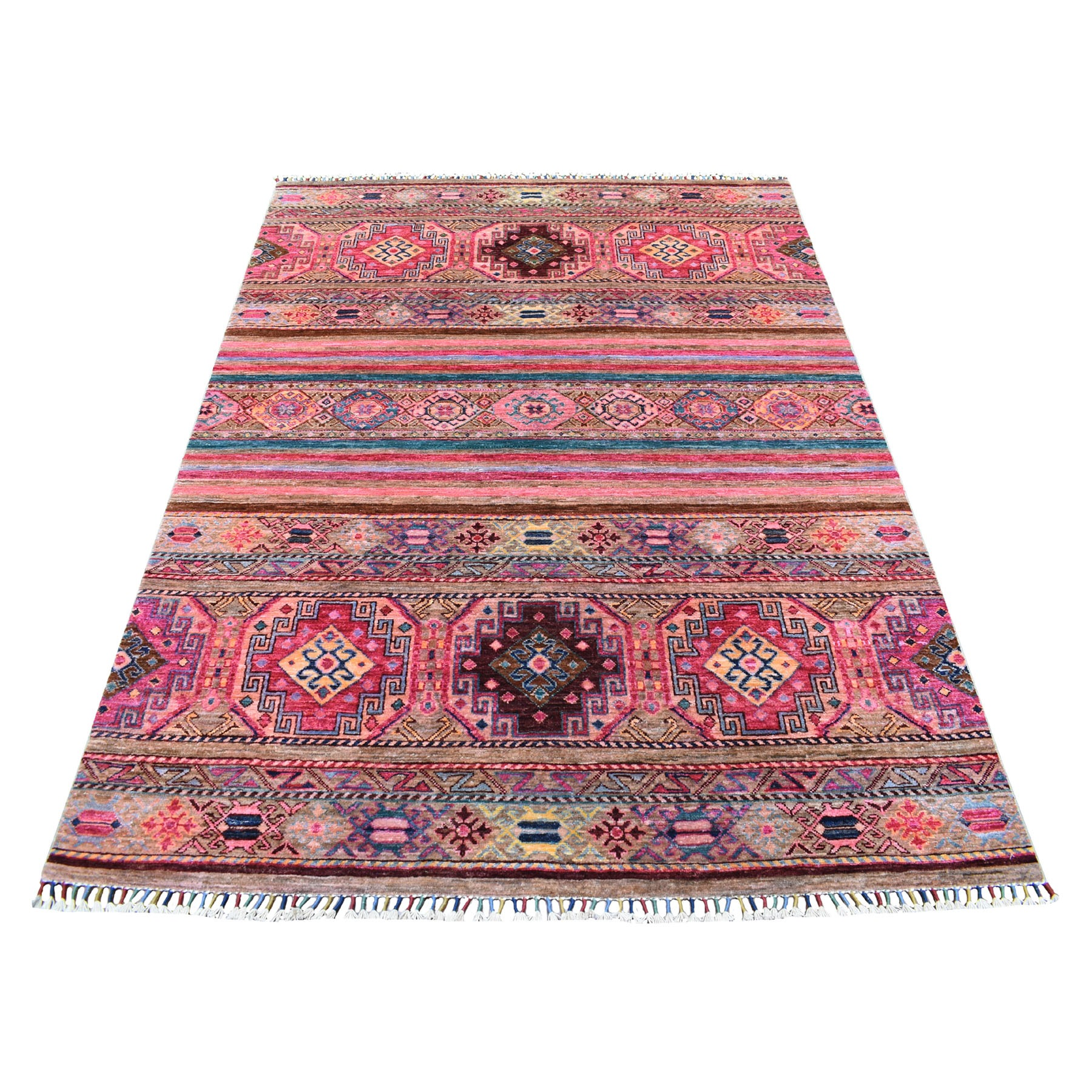 Caucasian Collection Hand Knotted Pink Rug No: 1113672