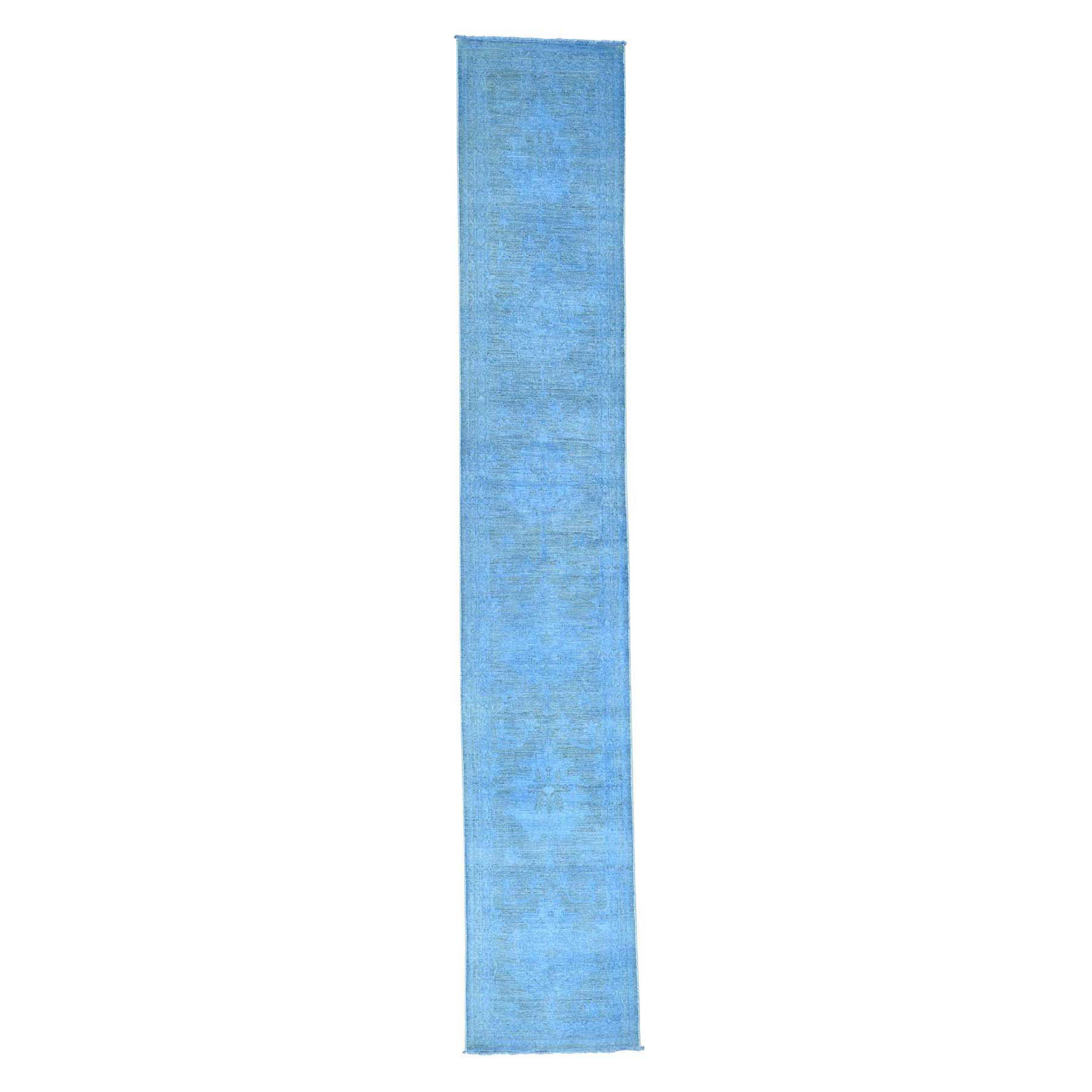 Fetneh Collection And Vintage Overdyed Collection Hand Knotted Blue Rug No: 170158