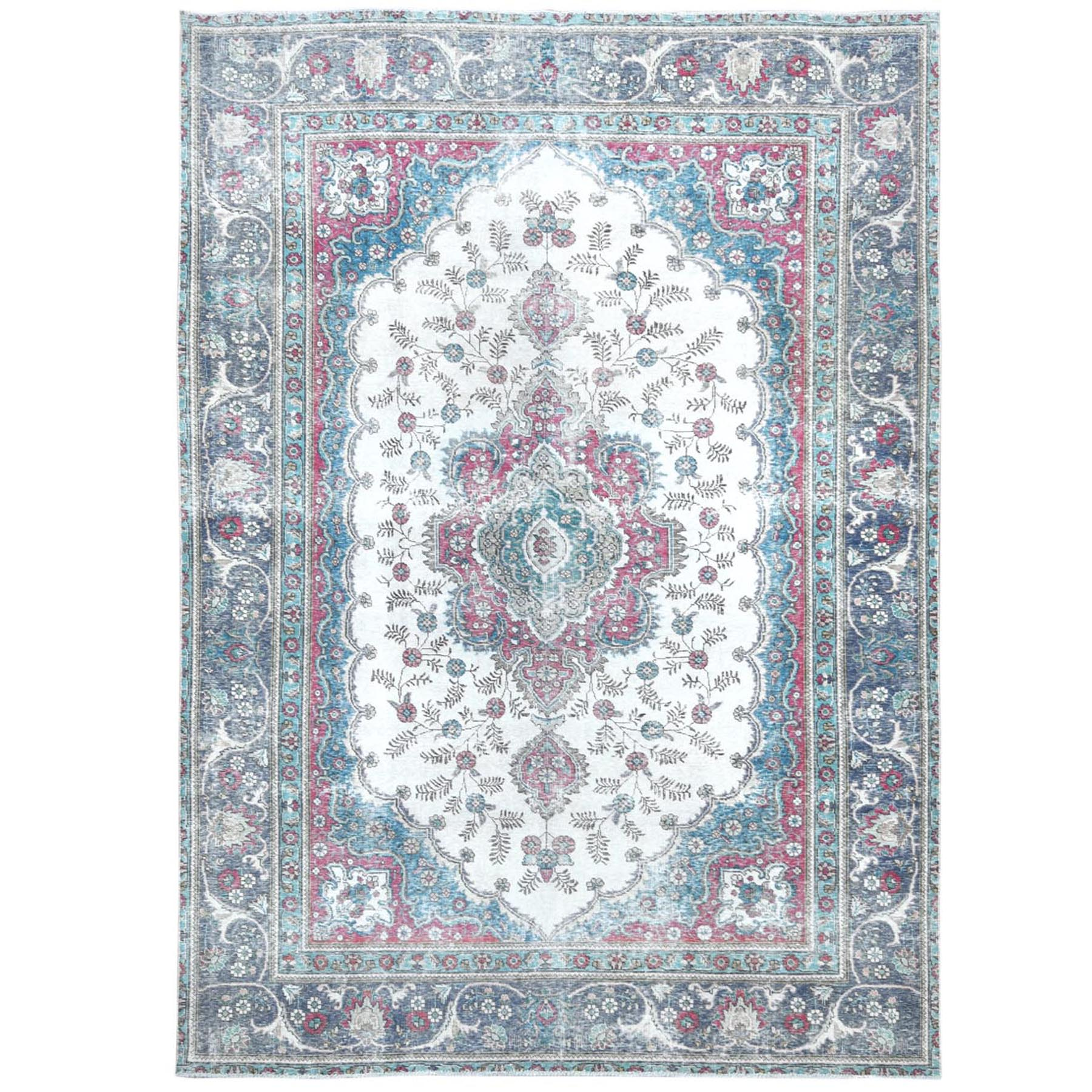 Fetneh Collection And Vintage Overdyed Collection Hand Knotted Ivory Rug No: 1120958