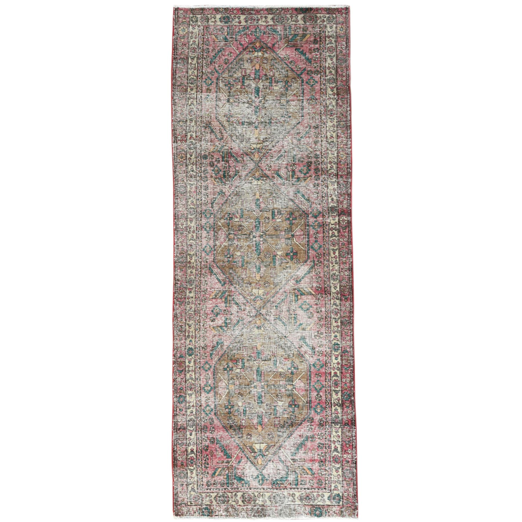 Fetneh Collection And Vintage Overdyed Collection Hand Knotted Red Rug No: 1121010