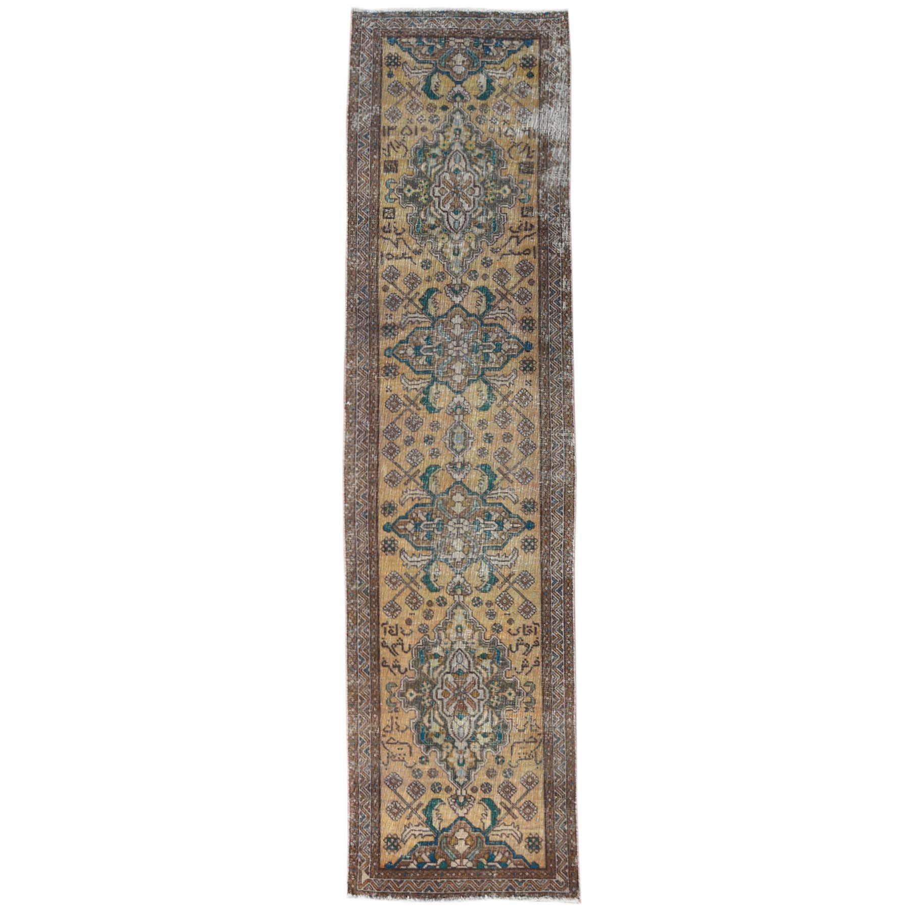 Fetneh Collection And Vintage Overdyed Collection Hand Knotted Yellow Rug No: 1121012