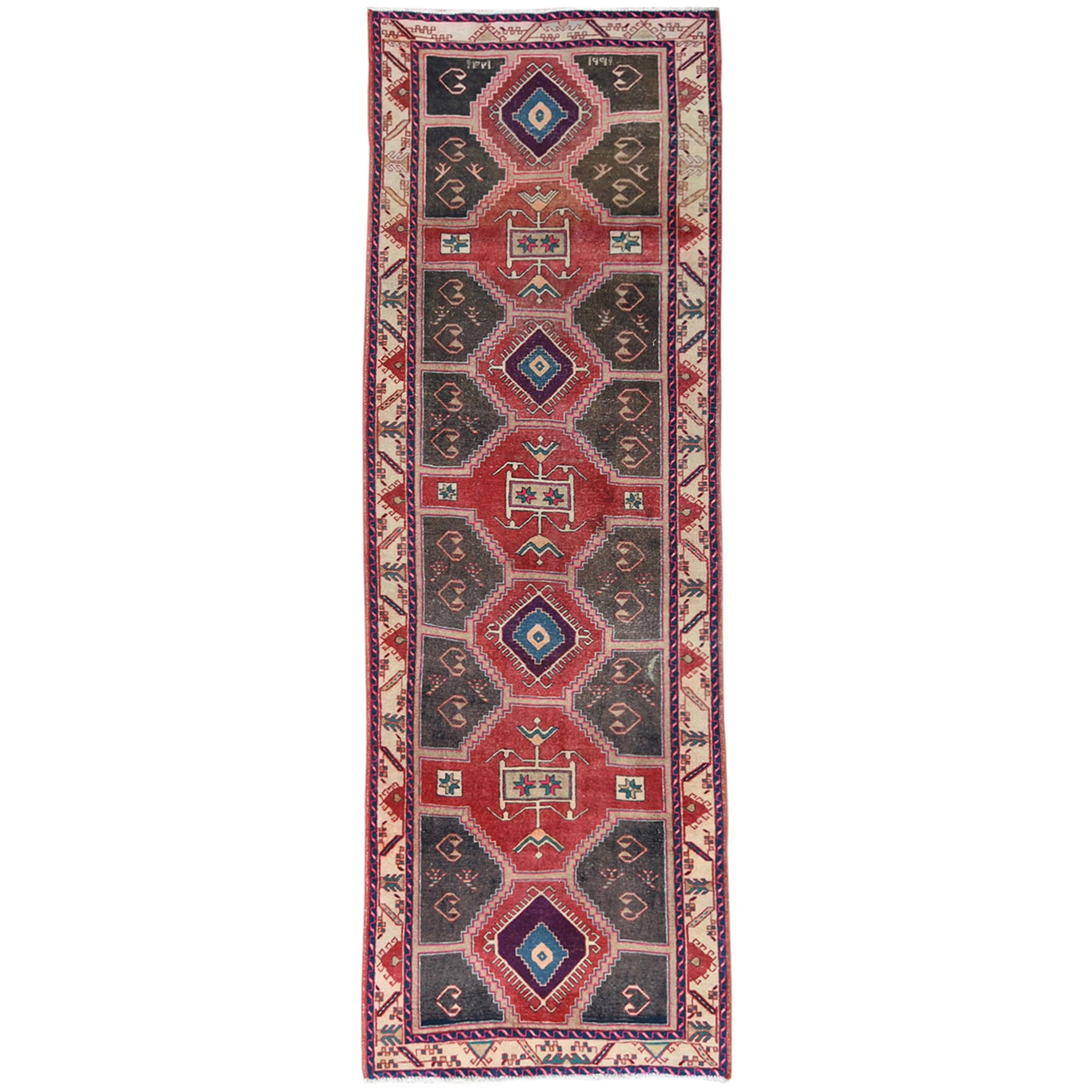 Fetneh Collection And Vintage Overdyed Collection Hand Knotted Red Rug No: 1121020