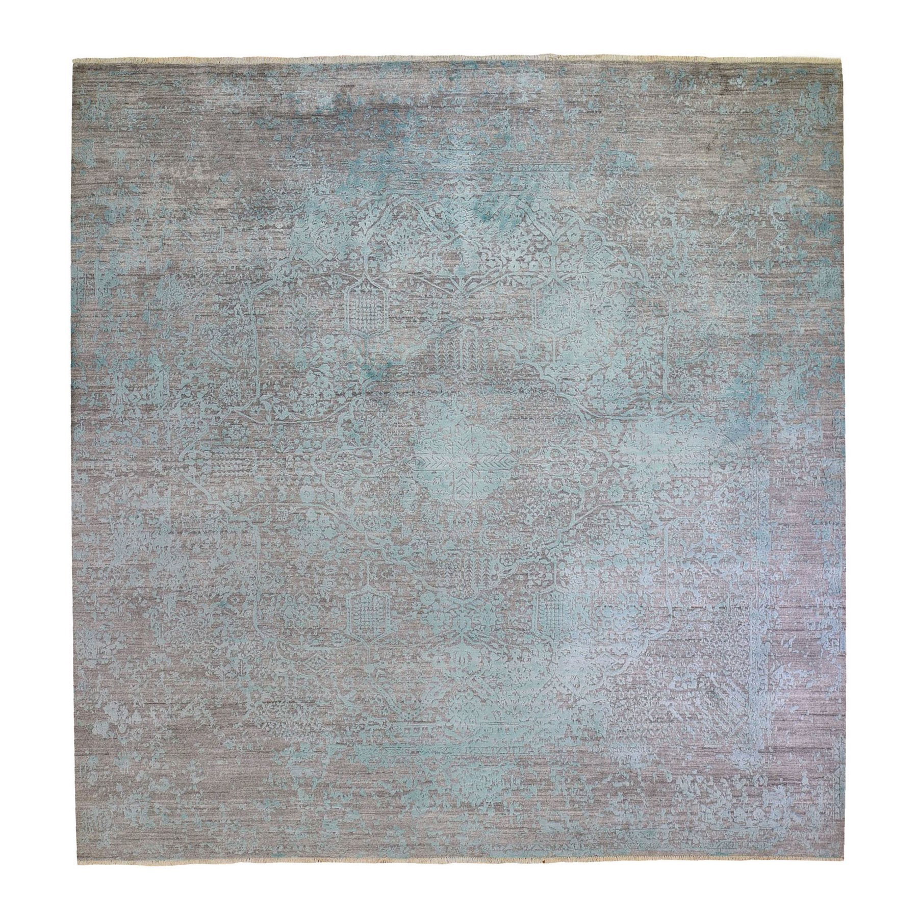 Transitional Hand Knotted Green Rug No: 1132580