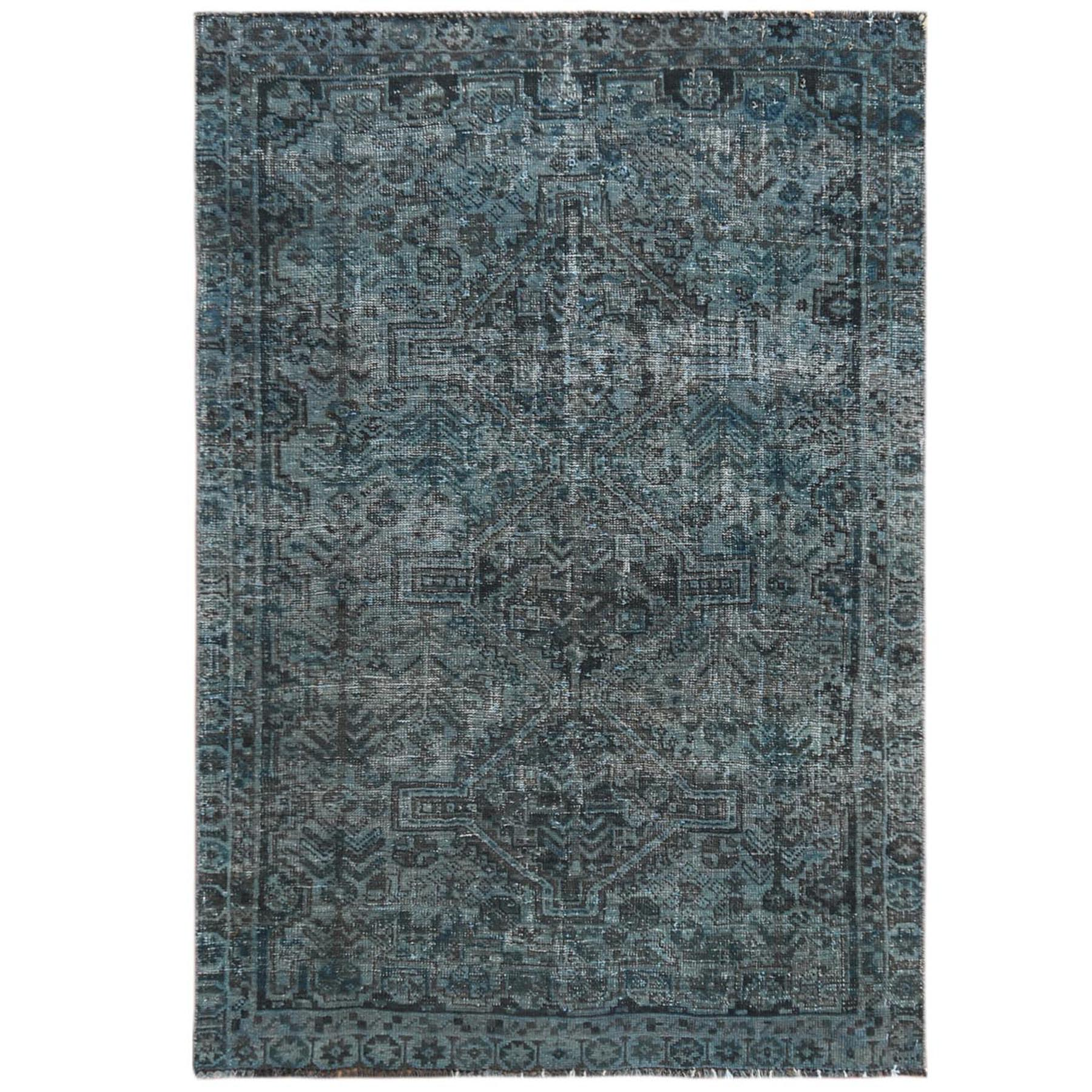 Fetneh Collection And Vintage Overdyed Collection Hand Knotted Teal Rug No: 1121108