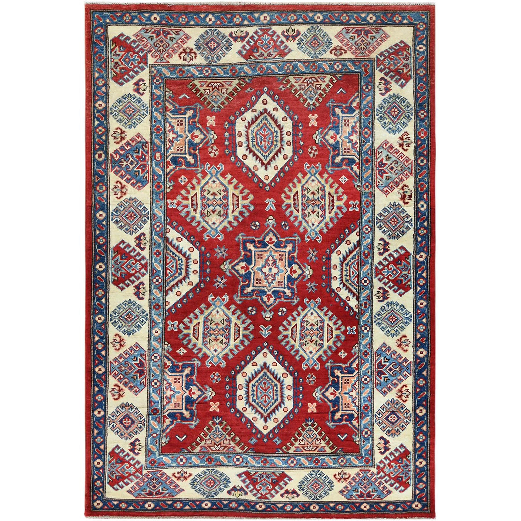 Caucasian Collection Hand Knotted Red Rug No: 1121484
